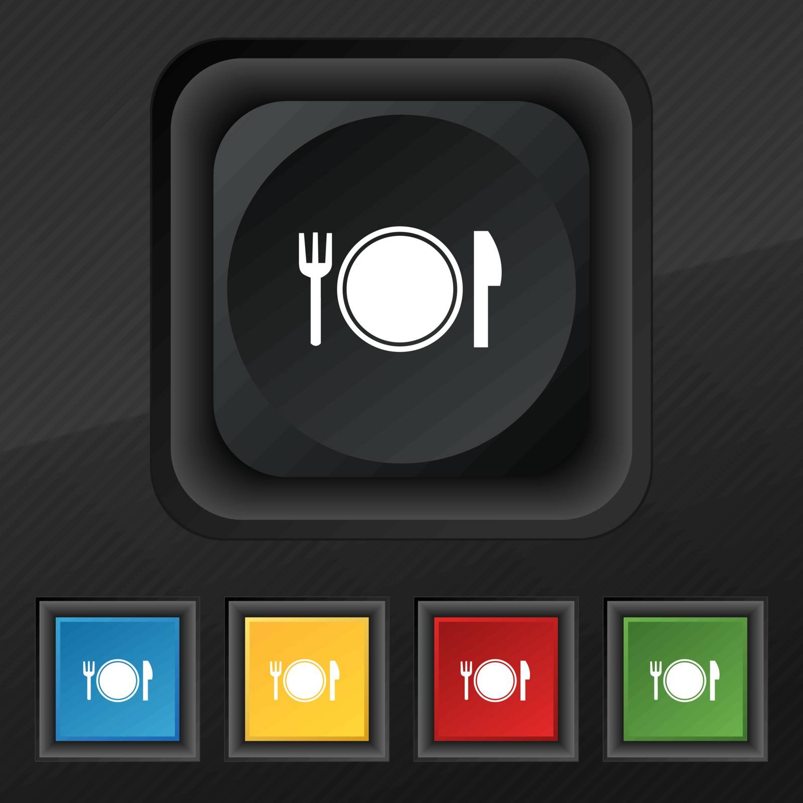 Plate icon symbol. Set of five colorful, stylish buttons on black texture for your design. Vector illustration