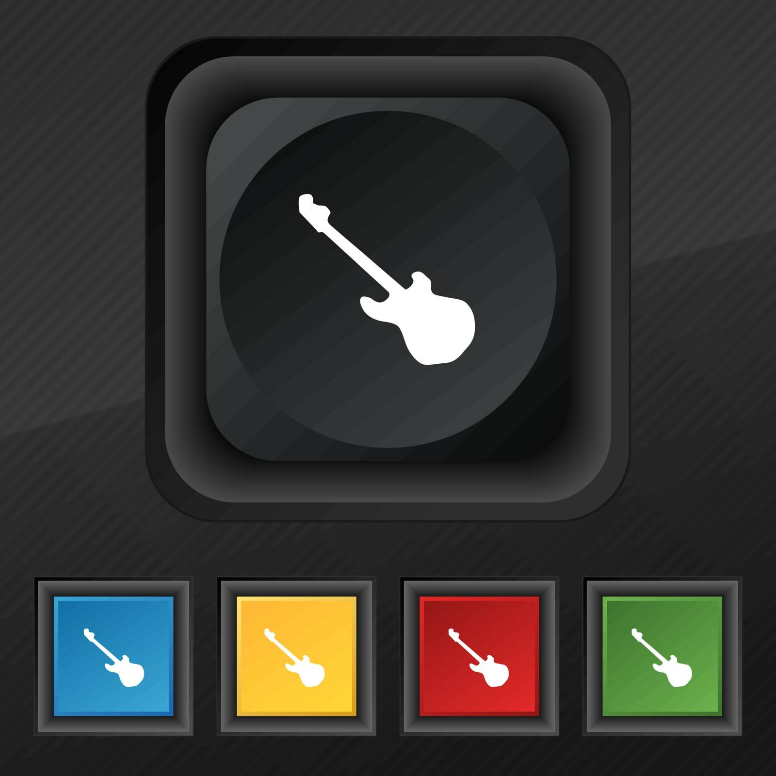 Guitar icon symbol. Set of five colorful, stylish buttons on black texture for your design. Vector illustration