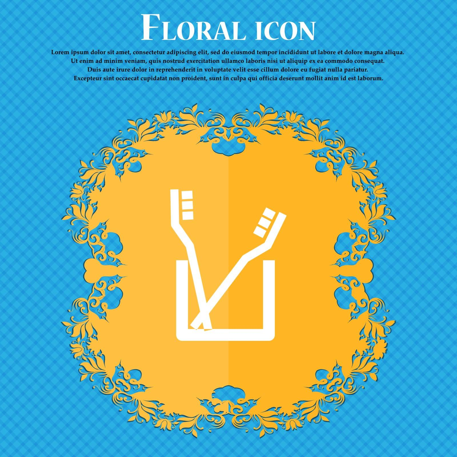 Toothbrush icon sign. Floral flat design on a blue abstract background with place for your text. Vector illustration