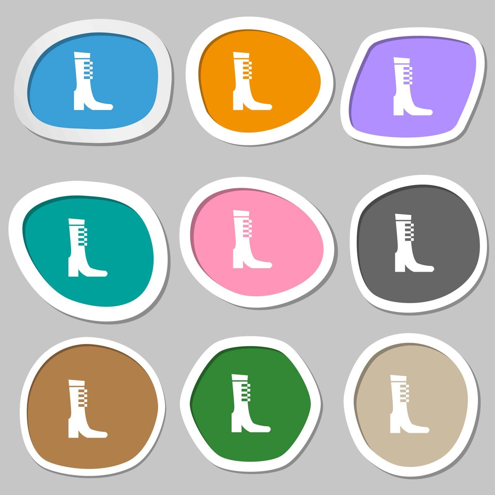 female fall and winter shoe, boot icon symbols. Multicolored paper stickers. Vector illustration