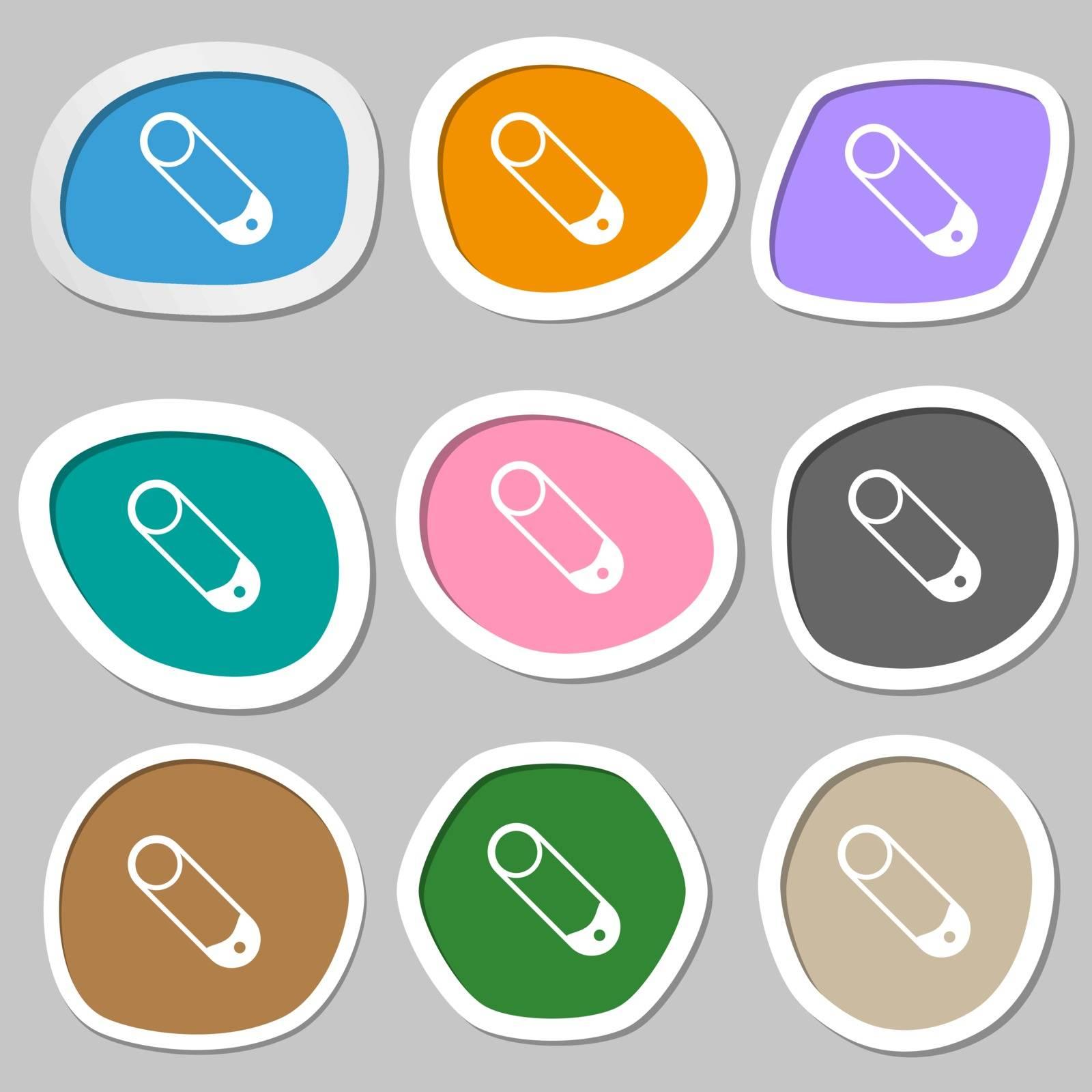Pushpin icon symbols. Multicolored paper stickers. Vector illustration