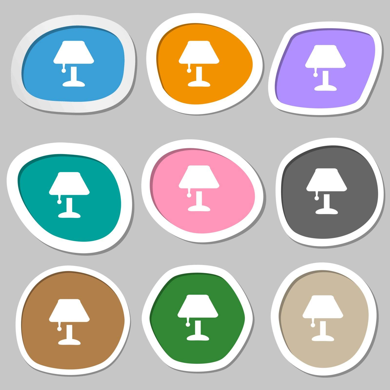 Table lamp Icon symbols. Multicolored paper stickers. Vector by serhii_lohvyniuk