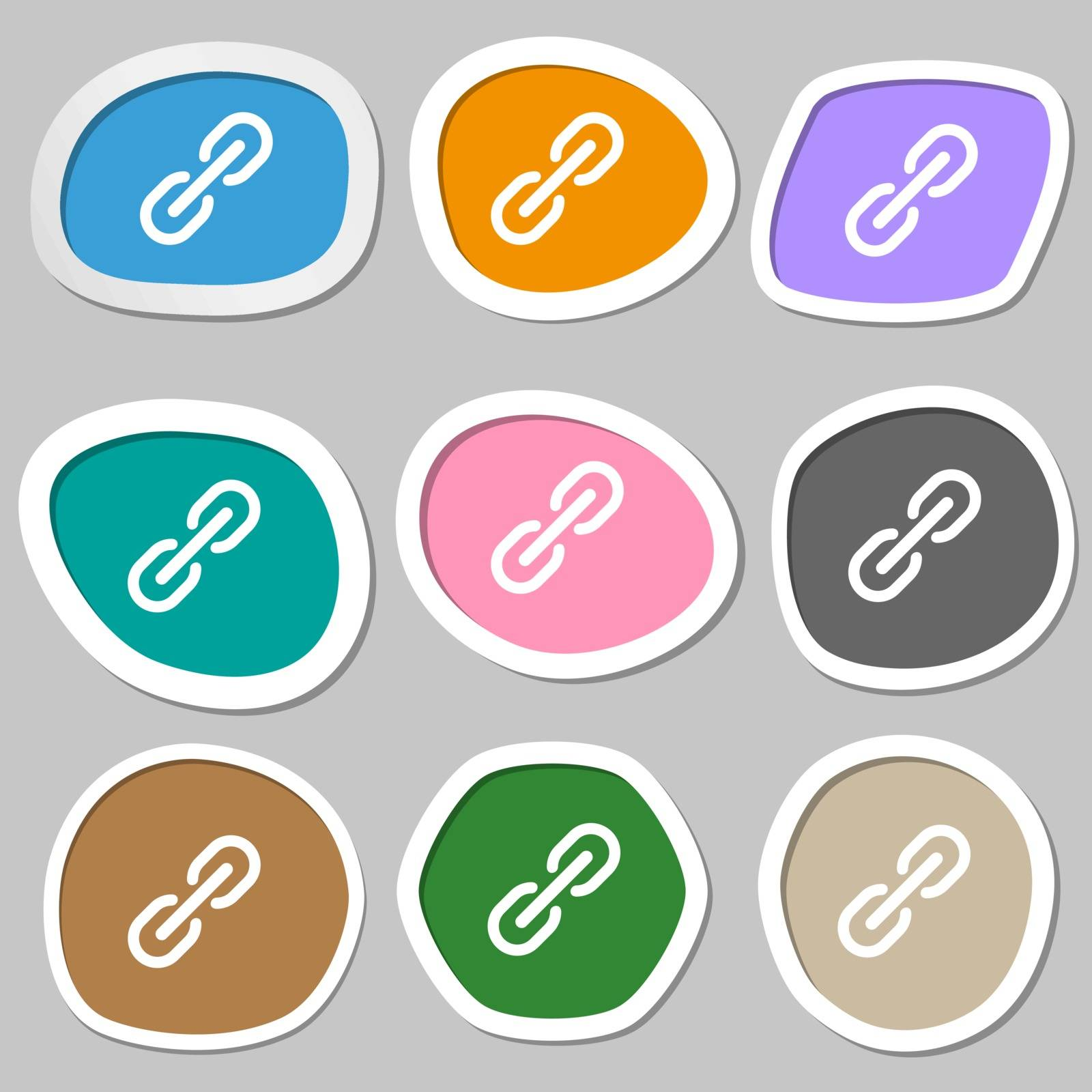 Chain Icon symbols. Multicolored paper stickers. Vector by serhii_lohvyniuk