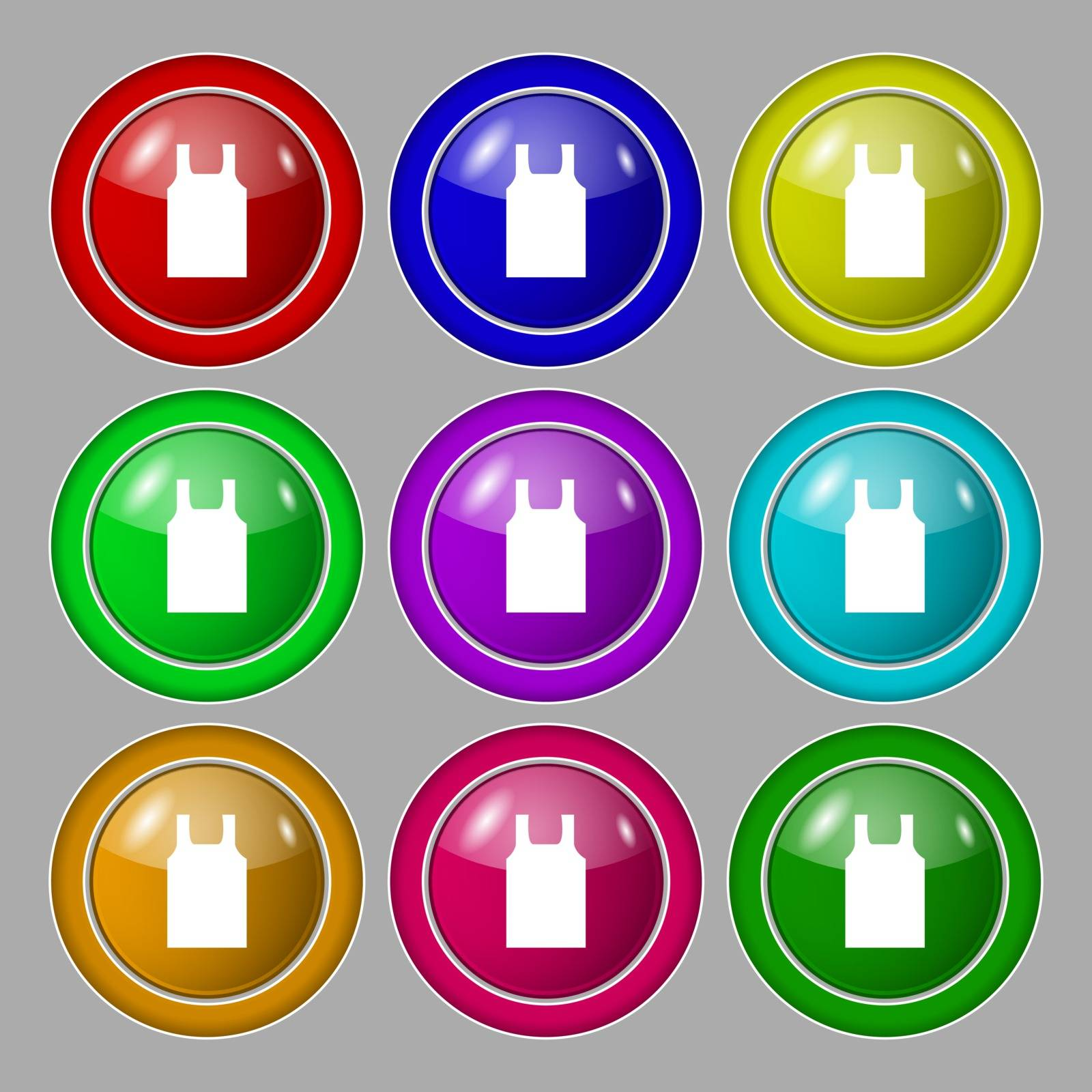 Working vest icon sign. symbol on nine round colourful buttons. Vector by serhii_lohvyniuk