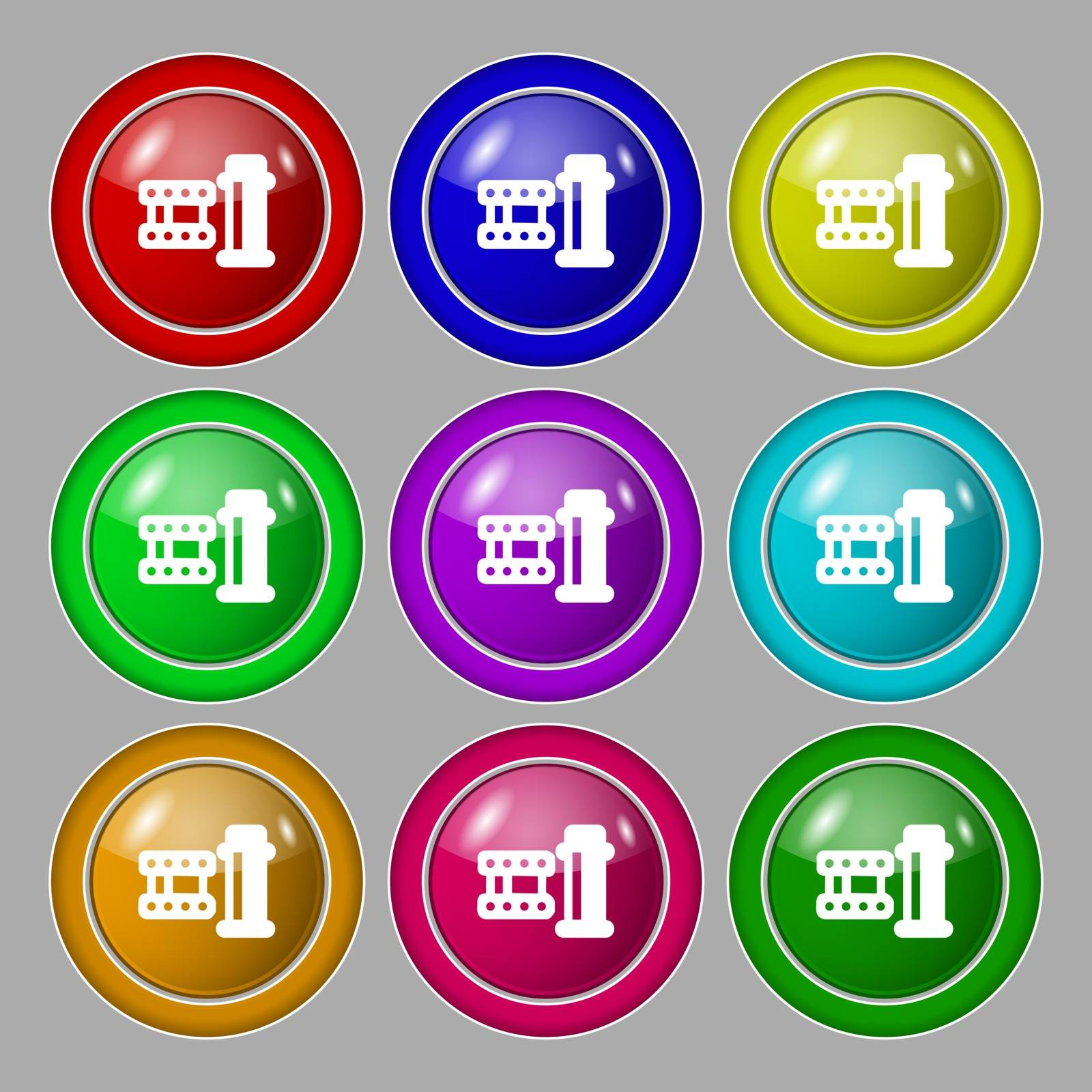film Icon sign. symbol on nine round colourful buttons. Vector illustration