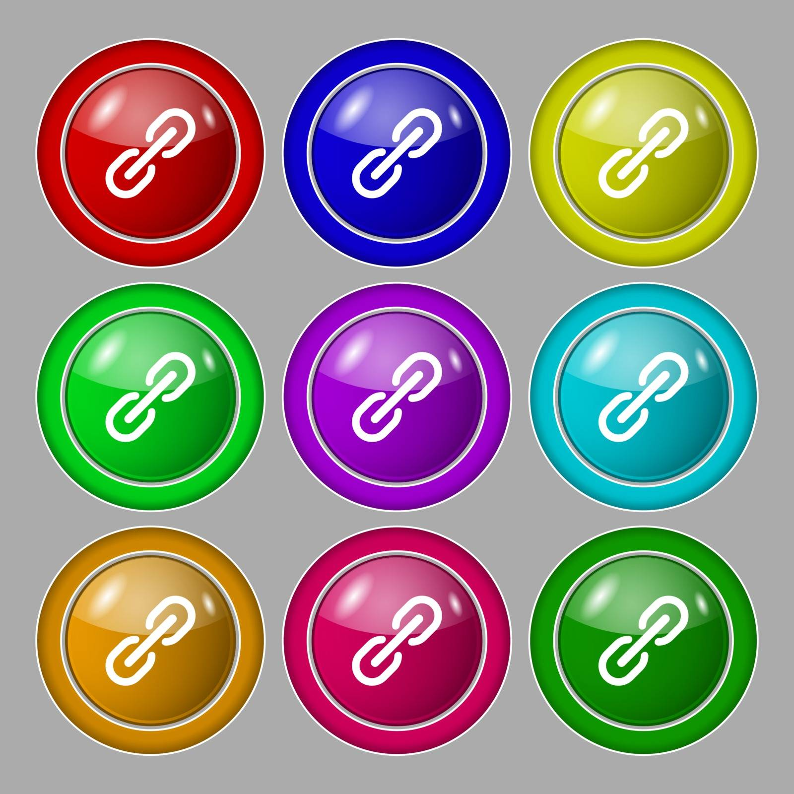Chain Icon sign. symbol on nine round colourful buttons. Vector illustration