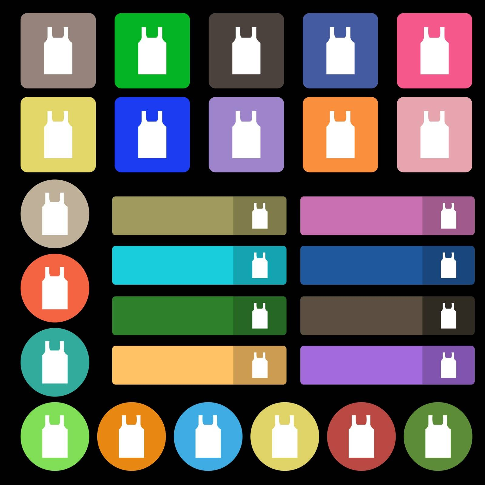 Working vest icon sign. Set from twenty seven multicolored flat buttons. Vector illustration