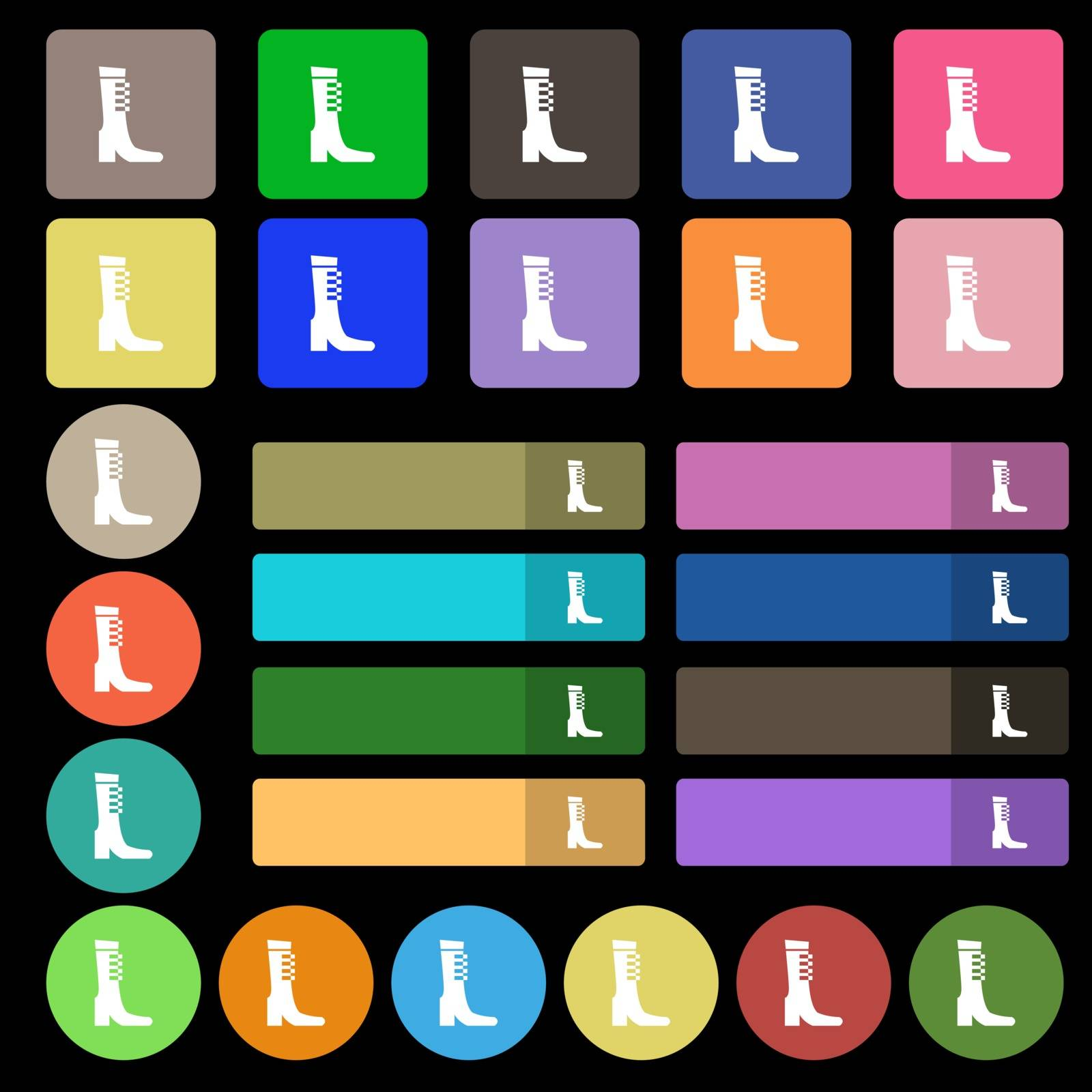 female fall and winter shoe, boot icon sign. Set from twenty seven multicolored flat buttons. Vector illustration
