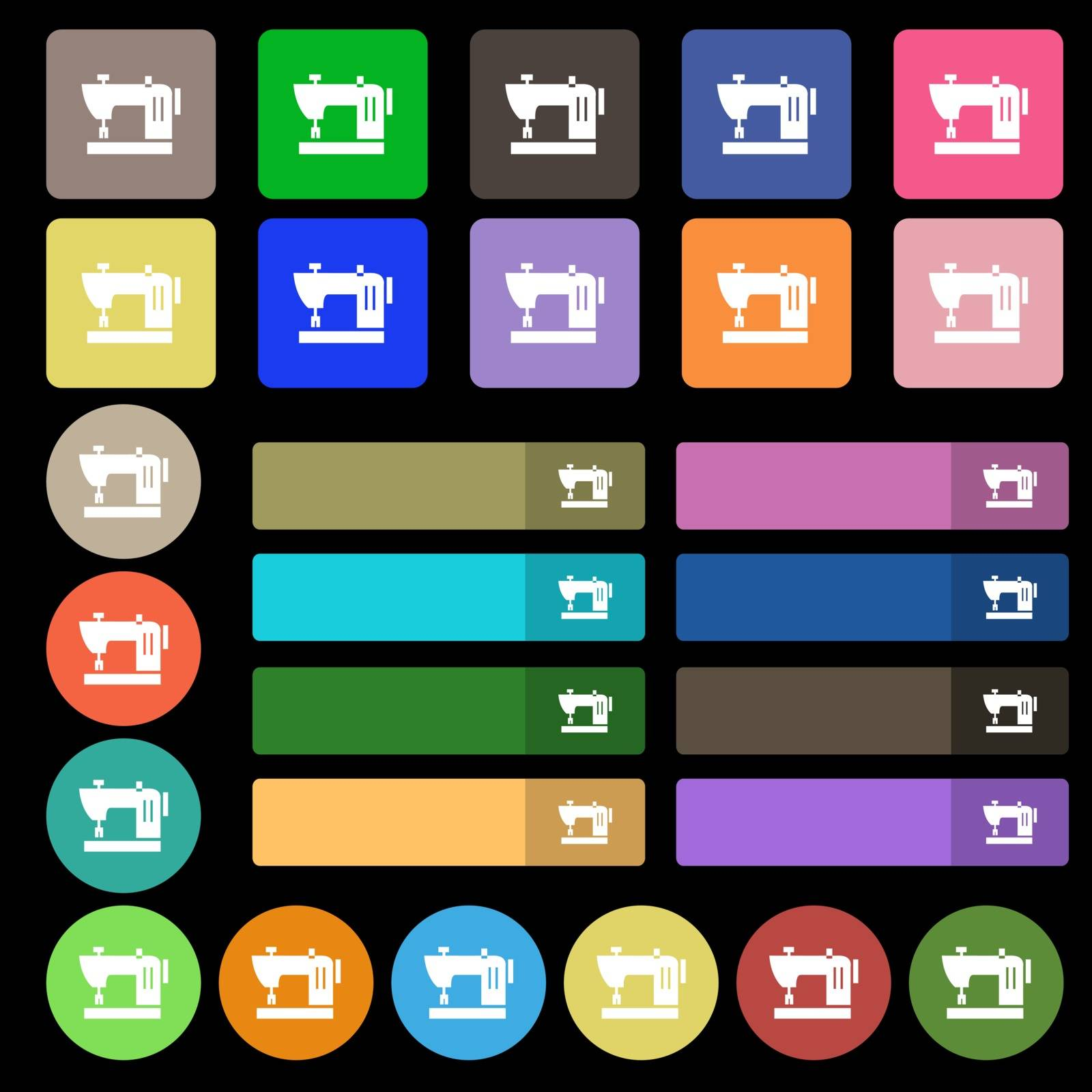 Sewing machine icon sign. Set from twenty seven multicolored flat buttons. Vector by serhii_lohvyniuk