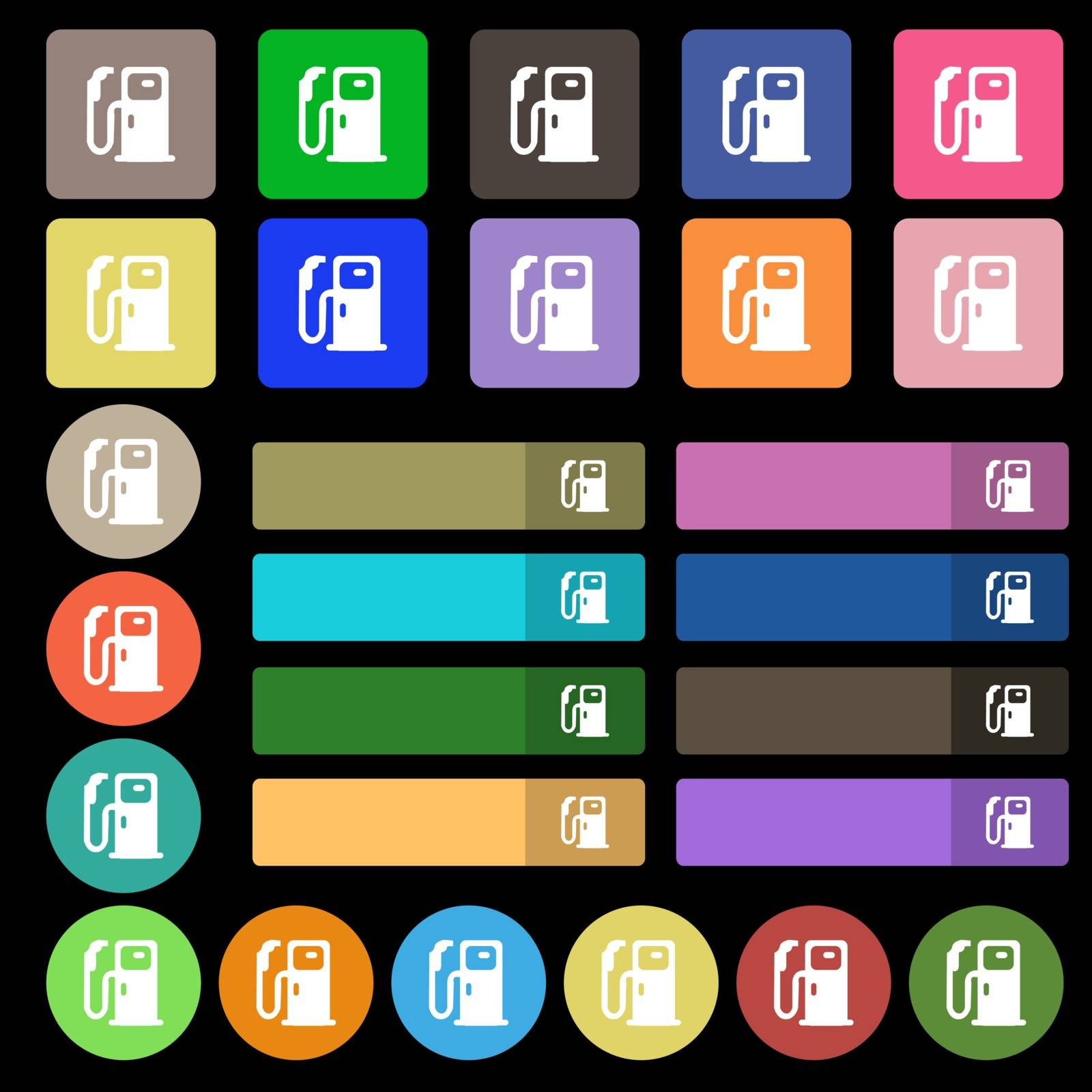 Fuel icon sign. Set from twenty seven multicolored flat buttons. Vector by serhii_lohvyniuk