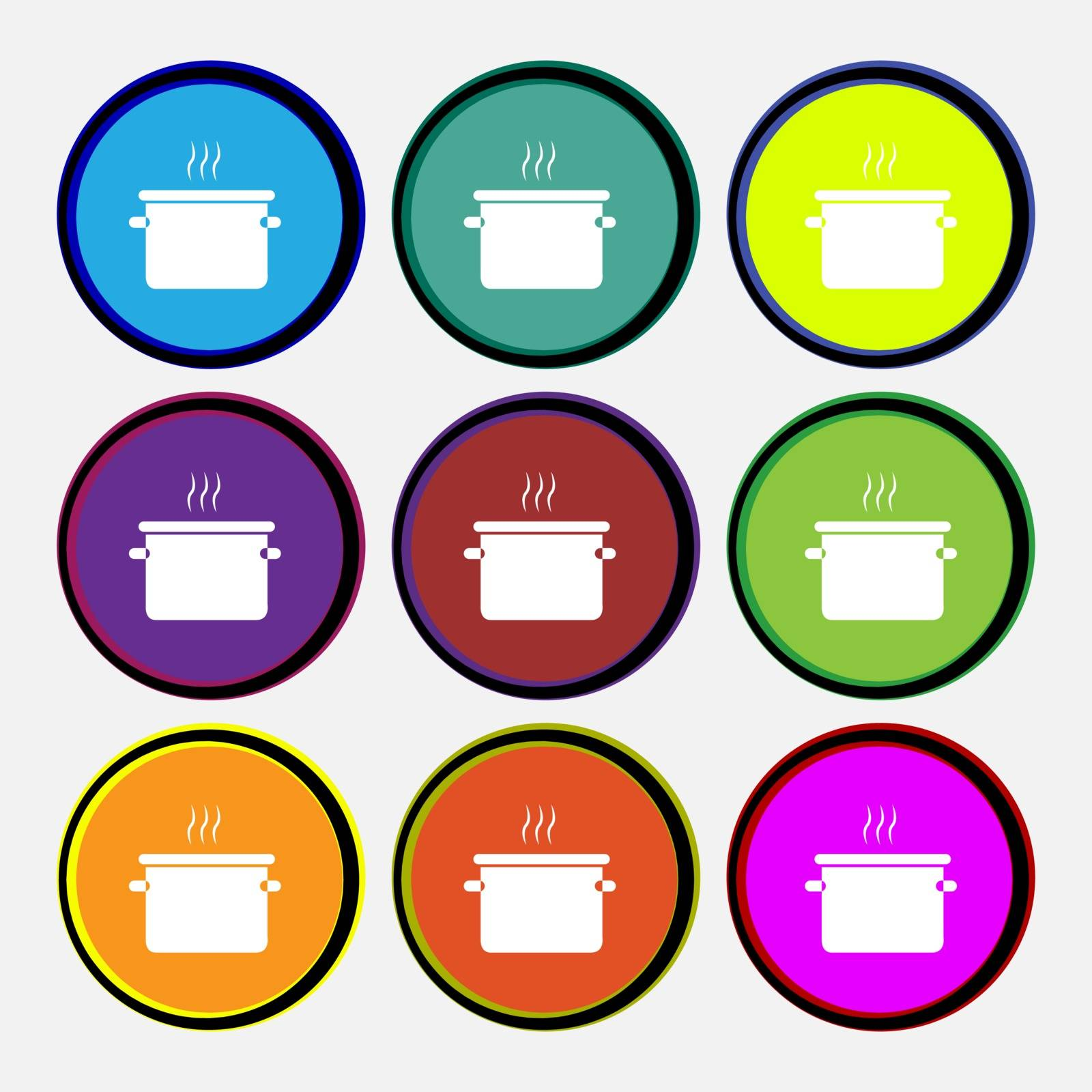 pan cooking icon sign. Nine multi colored round buttons. Vector illustration