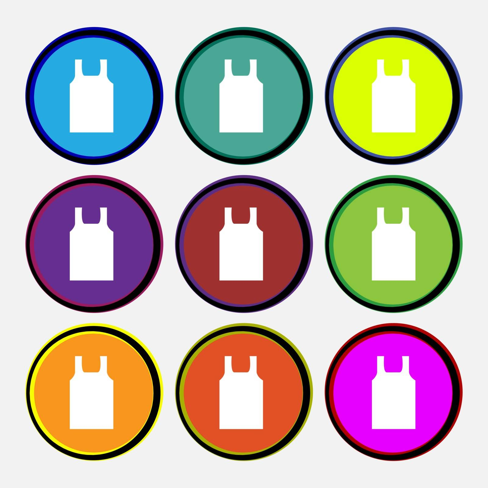 Working vest icon sign. Nine multi colored round buttons. Vector by serhii_lohvyniuk