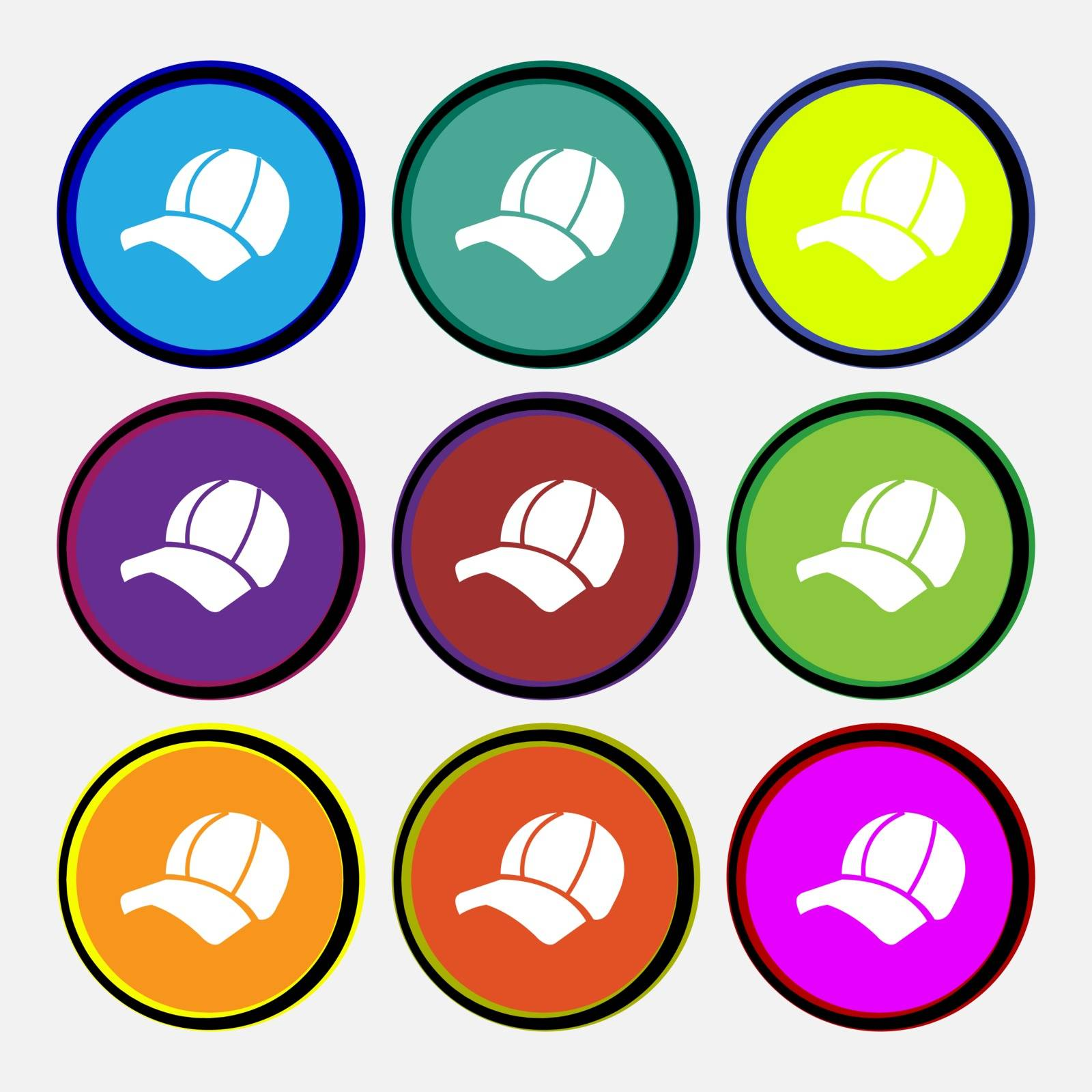 Ball cap icon sign. Nine multi colored round buttons. Vector by serhii_lohvyniuk