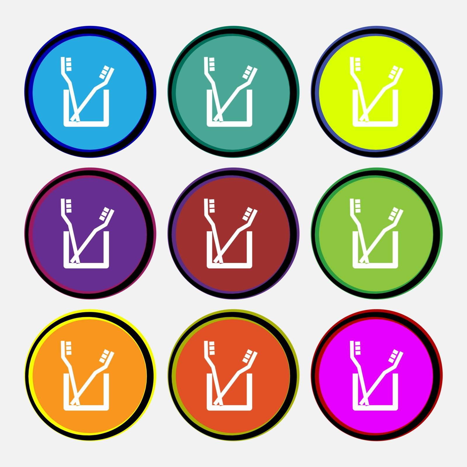 Toothbrush icon sign. Nine multi colored round buttons. Vector illustration