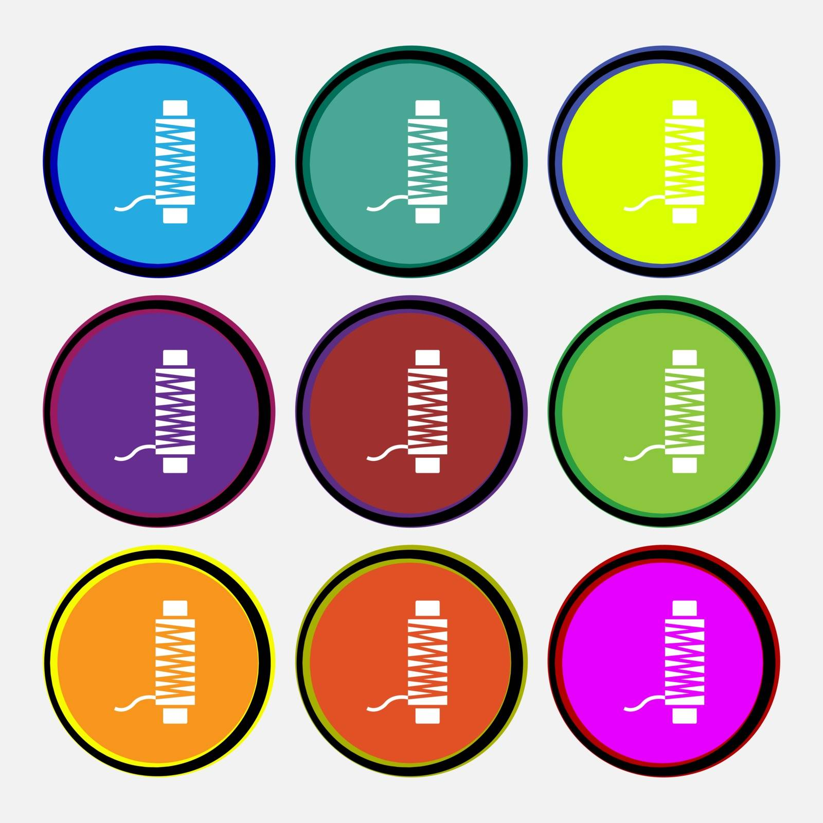 Thread Icon sign. Nine multi colored round buttons. Vector illustration