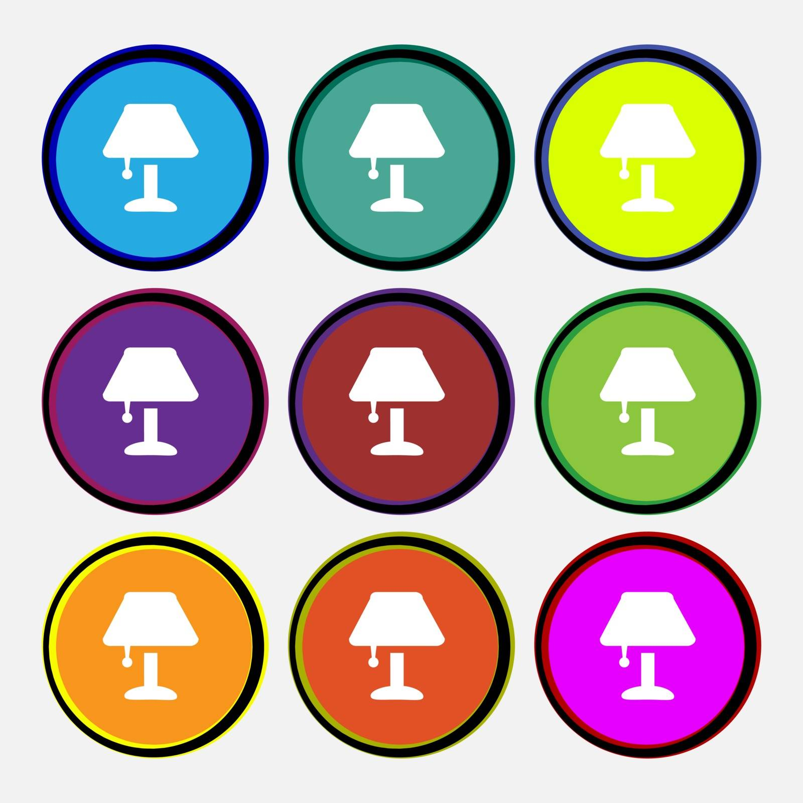 Table lamp Icon sign. Nine multi colored round buttons. Vector by serhii_lohvyniuk