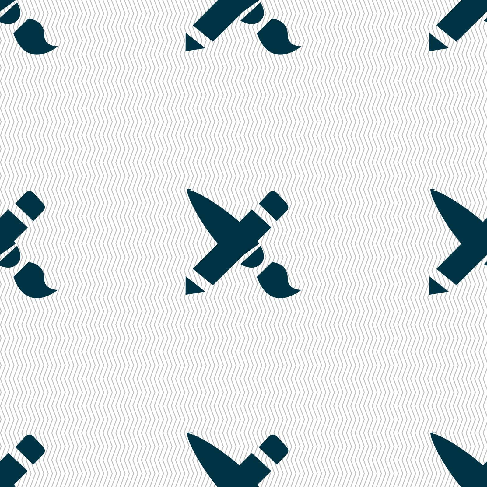 Brush Icon sign. Seamless pattern with geometric texture. Vector illustration