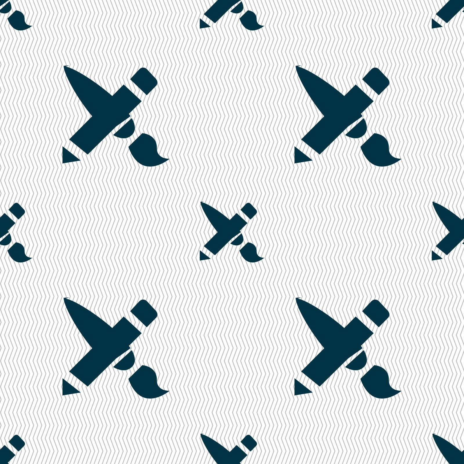 Brush Icon sign. Seamless pattern with geometric texture. Vector by serhii_lohvyniuk