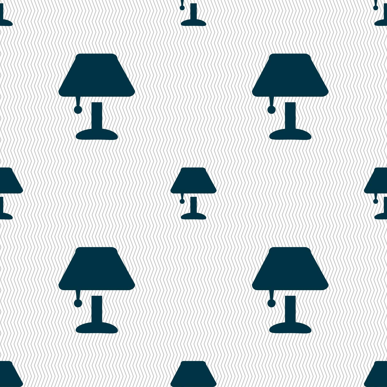 Table lamp Icon sign. Seamless pattern with geometric texture. Vector by serhii_lohvyniuk