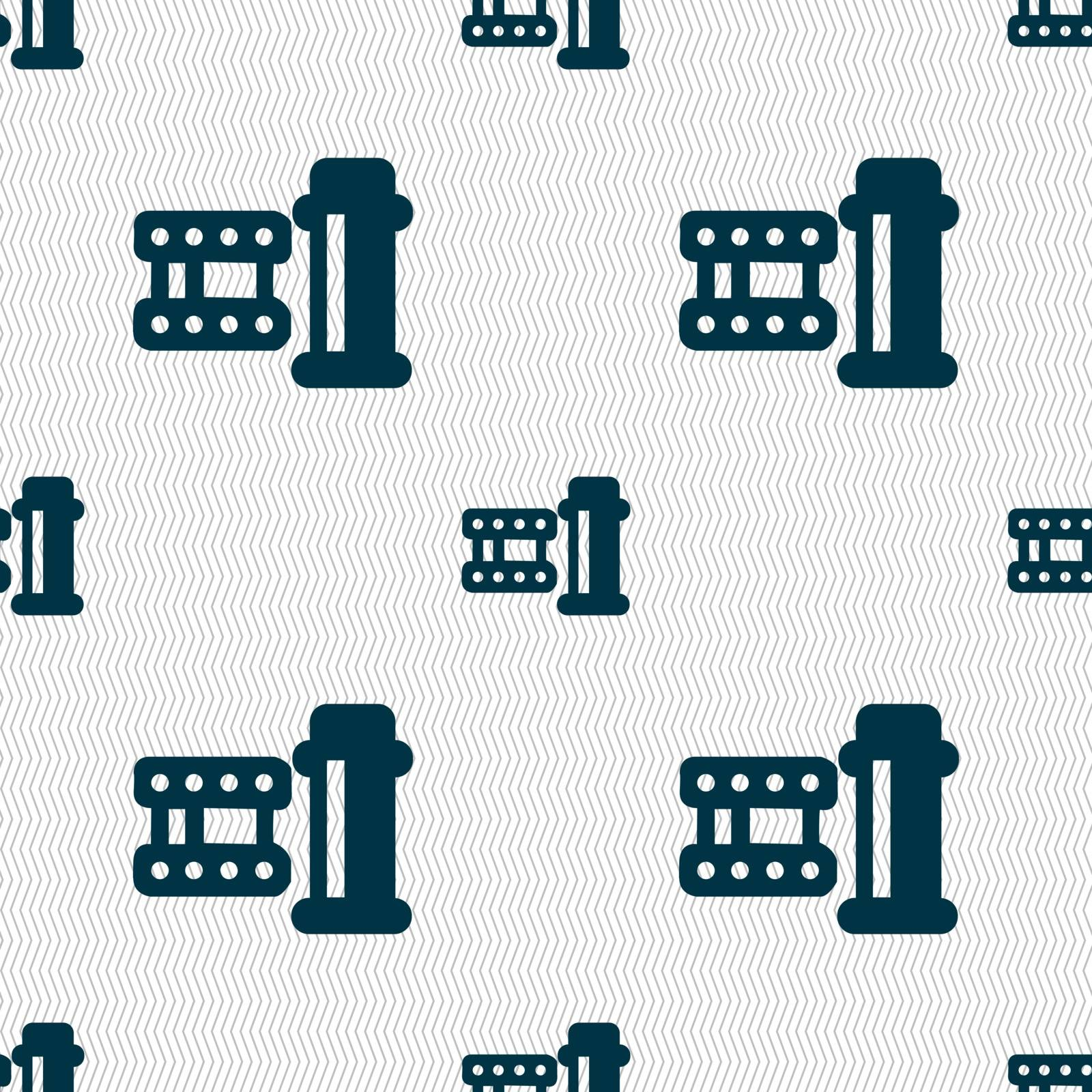 film Icon sign. Seamless pattern with geometric texture. Vector by serhii_lohvyniuk