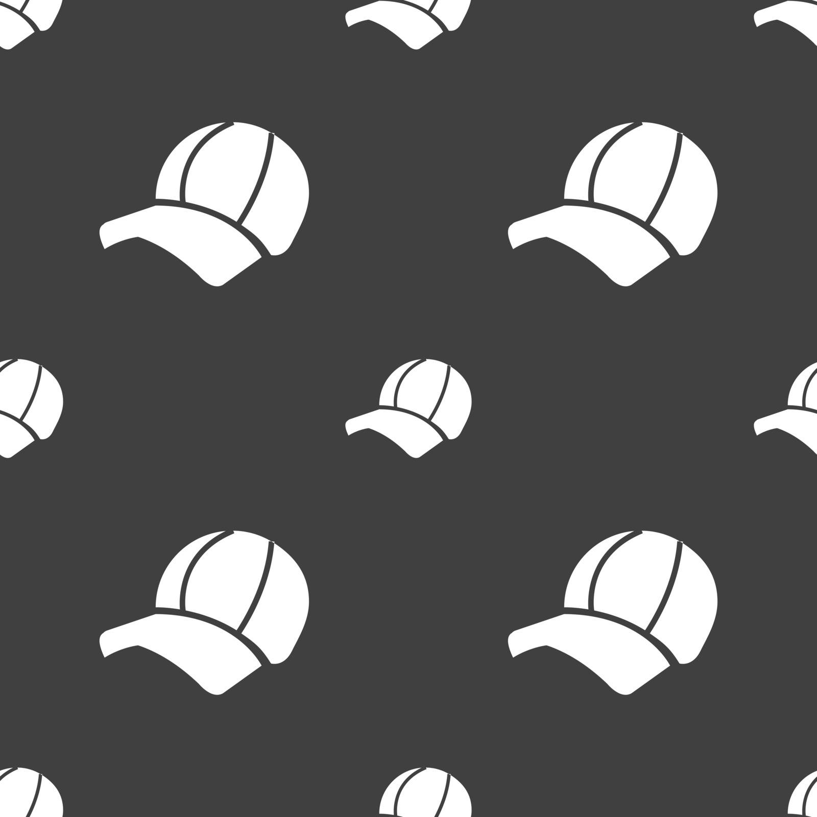 Ball cap icon sign. Seamless pattern on a gray background. Vector illustration
