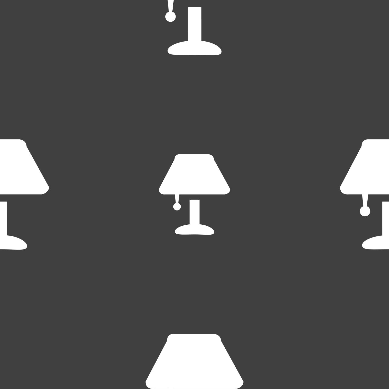 Table lamp Icon sign. Seamless pattern on a gray background. Vector illustration