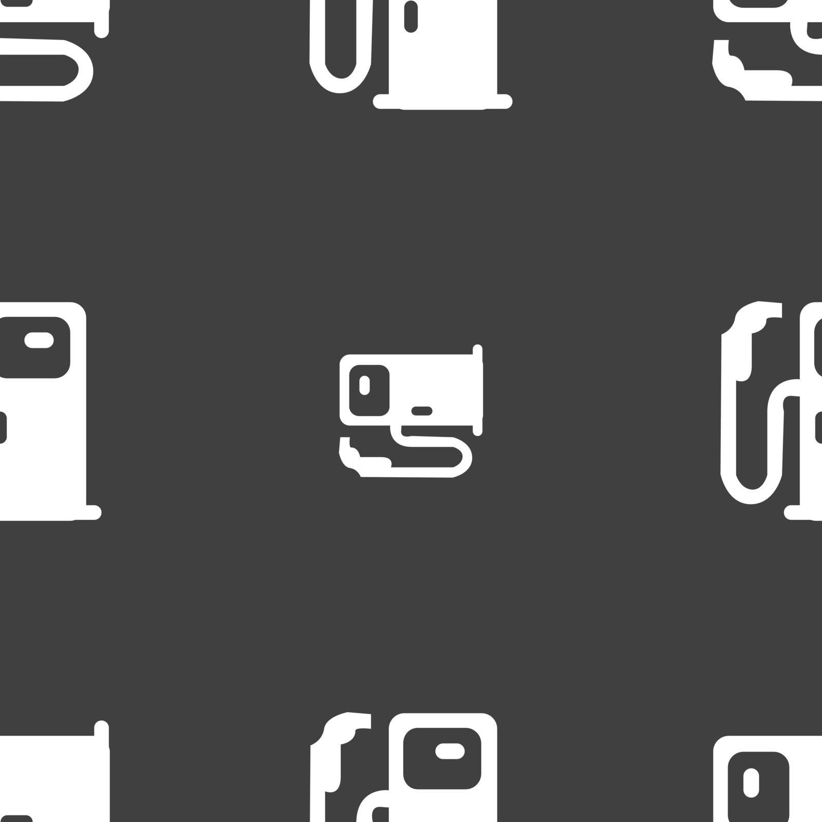 Fuel icon sign. Seamless pattern on a gray background. Vector illustration