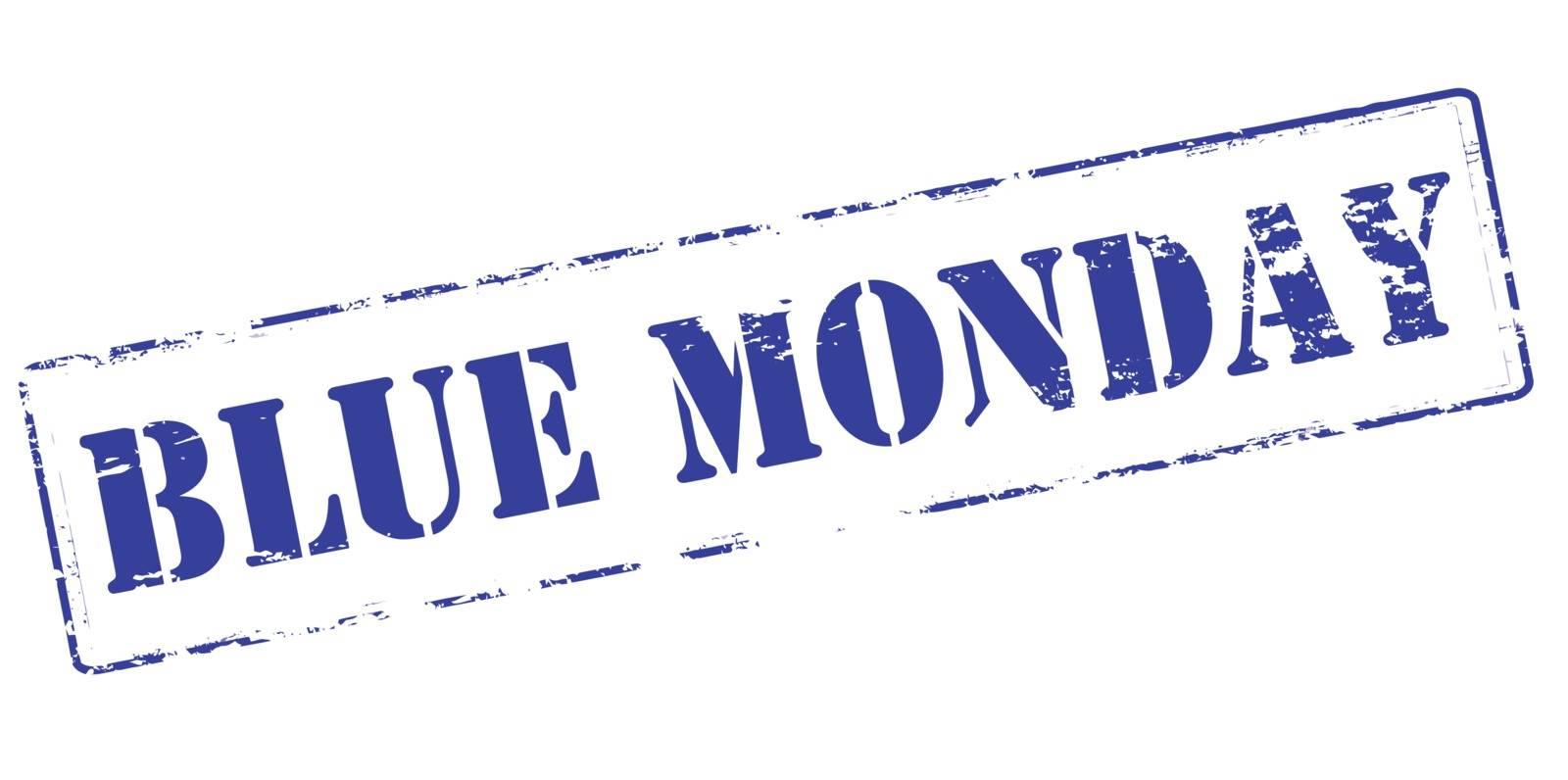 Rubber stamp with text Blue Monday inside, vector illustration