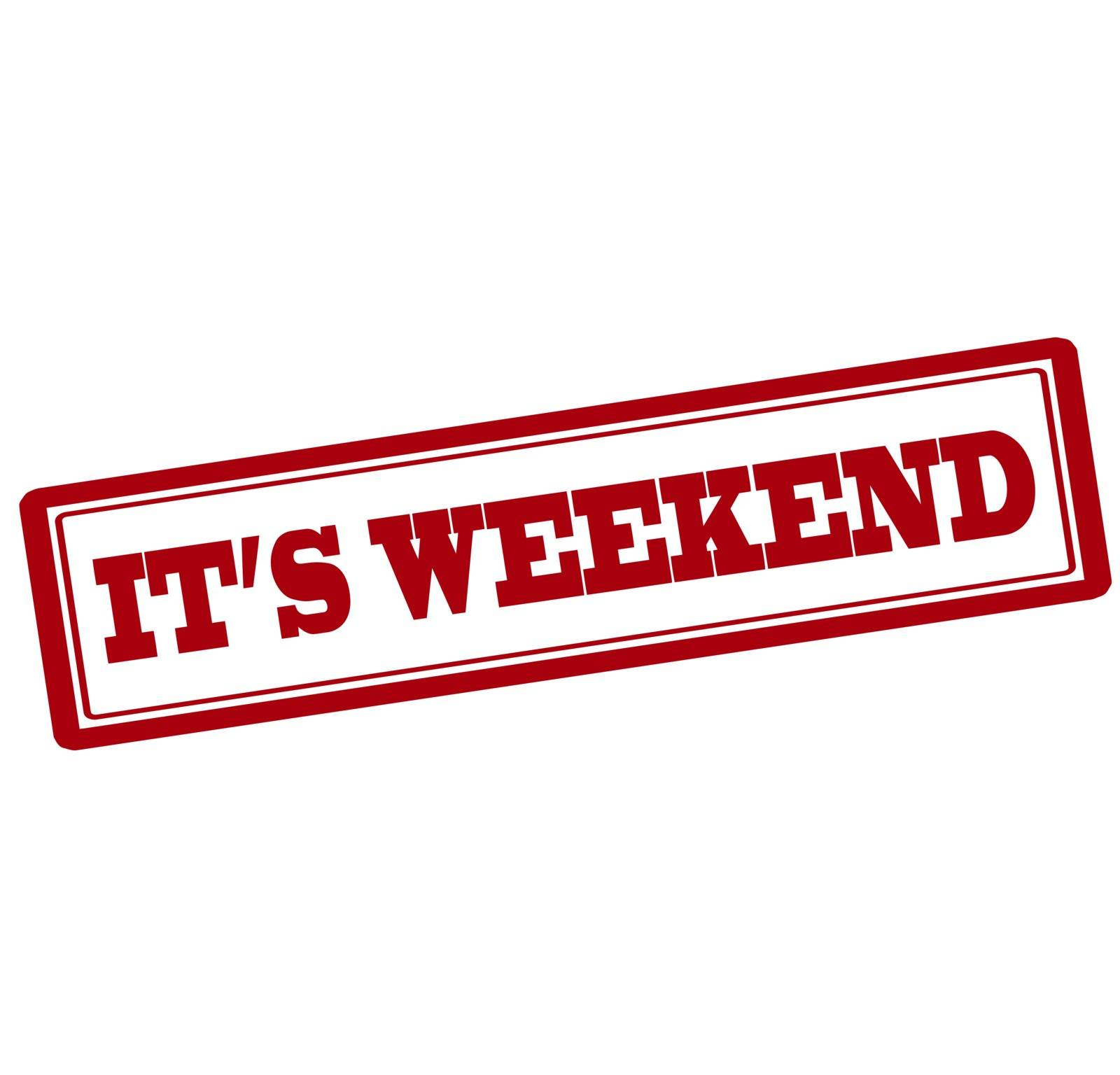 Rubber stamp with text it s weekend inside, vector illustration