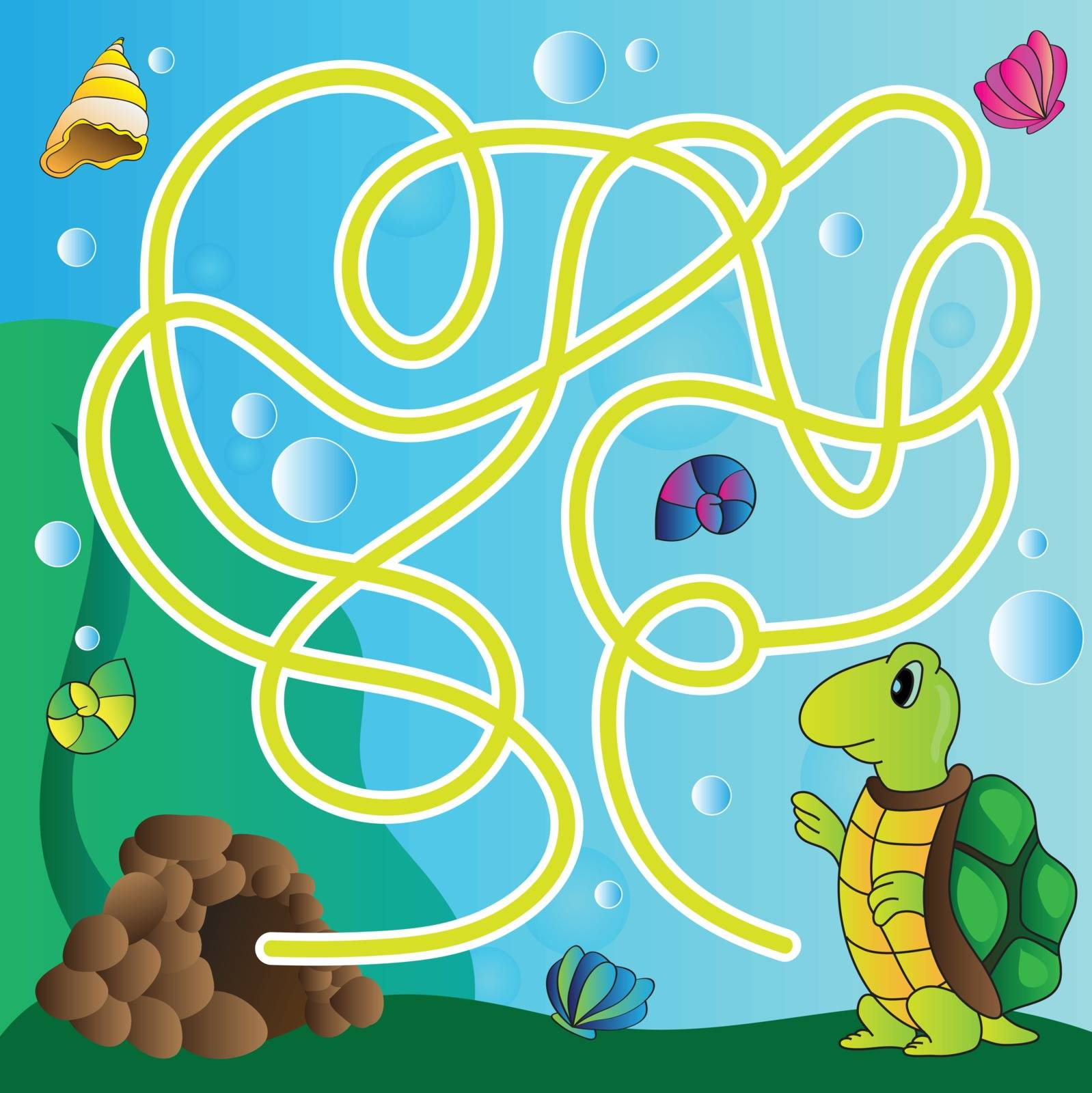 Vector puzzle for kids  - the marine life