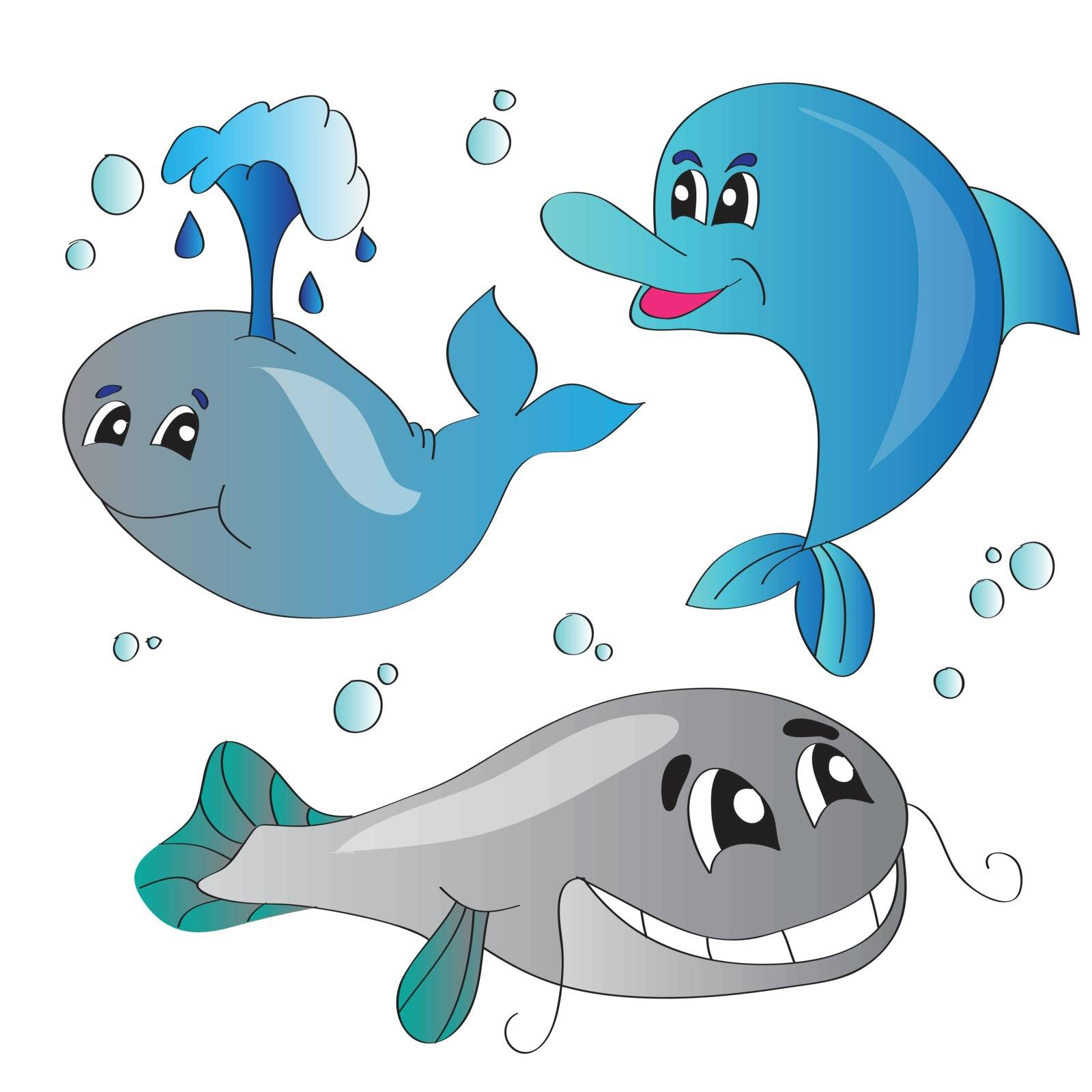 Vector illustration set of images of the marine life
