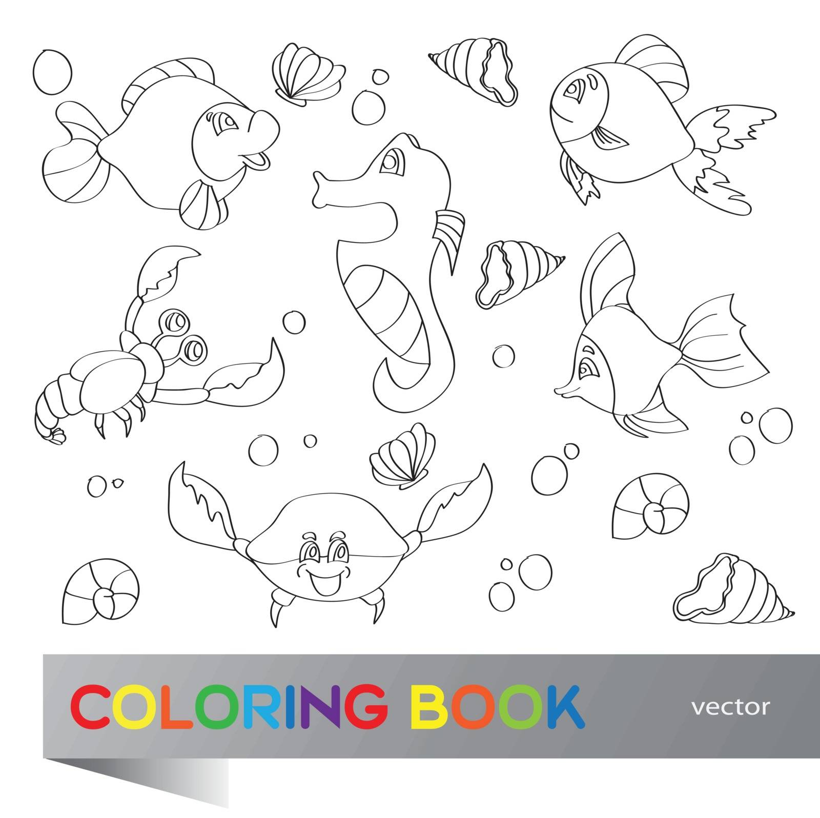 Coloring book - set of images of the marine life
