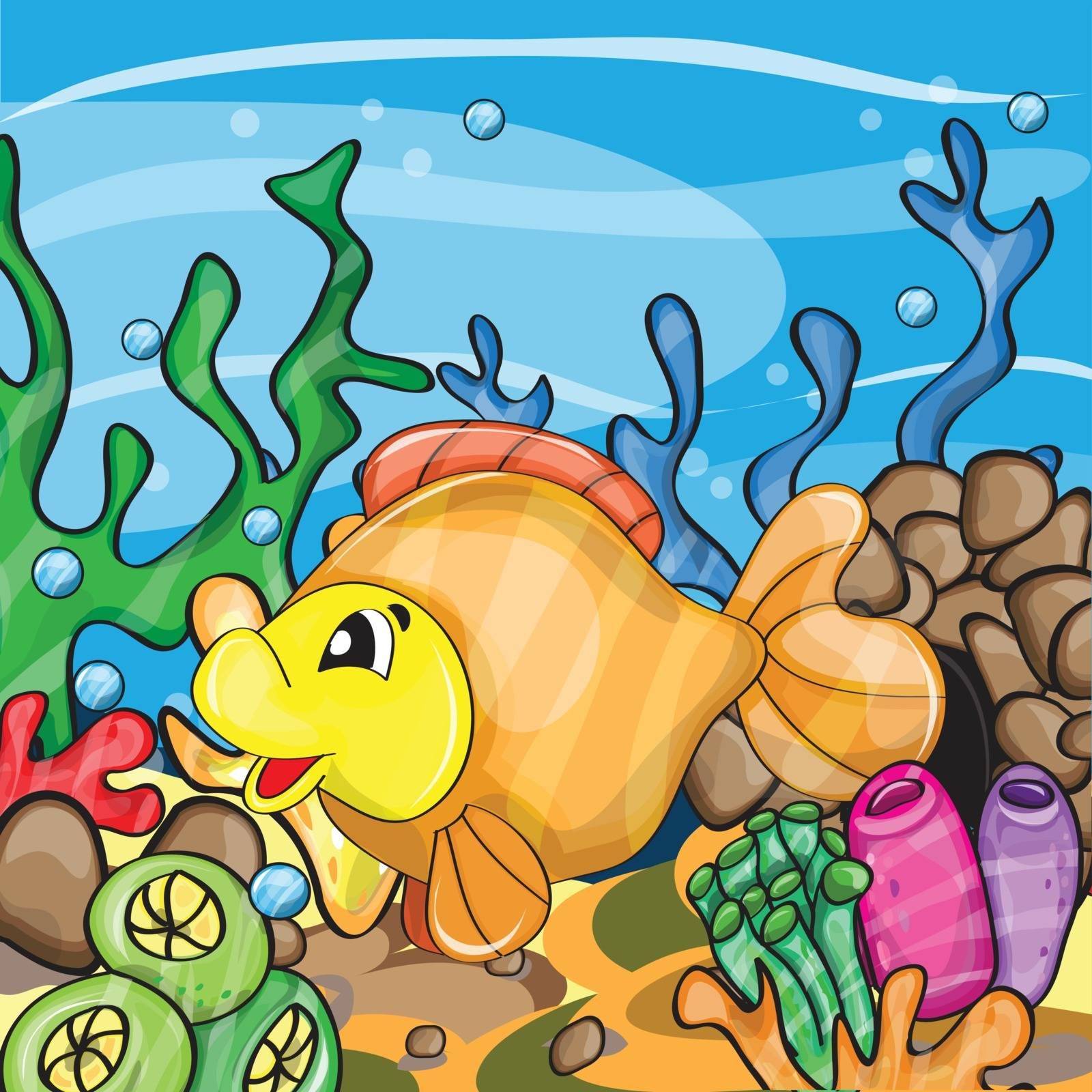 Illustration of a happy goldfish by natali_brill
