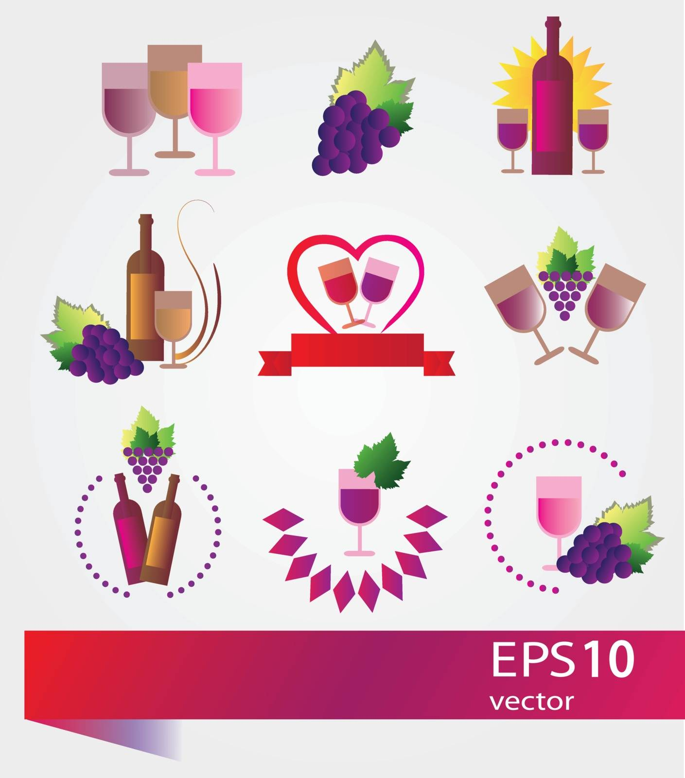Vector wine labels and concepts - icons set