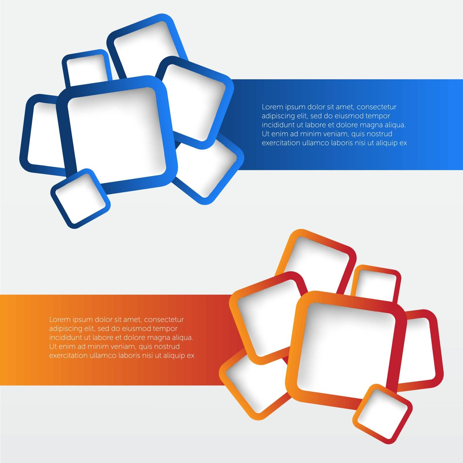 Banners with rounded squares. Vector illustration, EPS 10