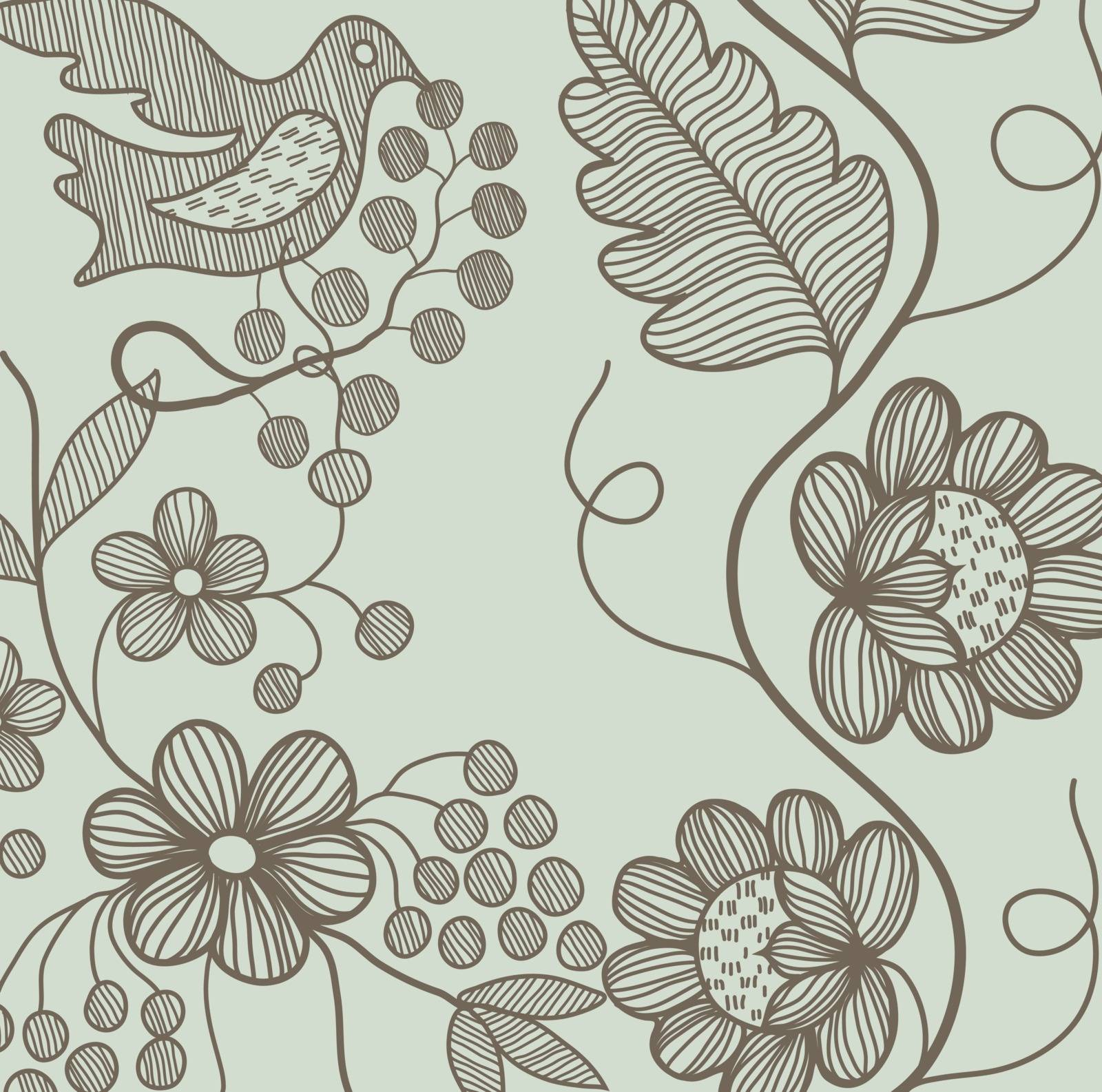 flower pattern with bird and national Ukrainian ornament
