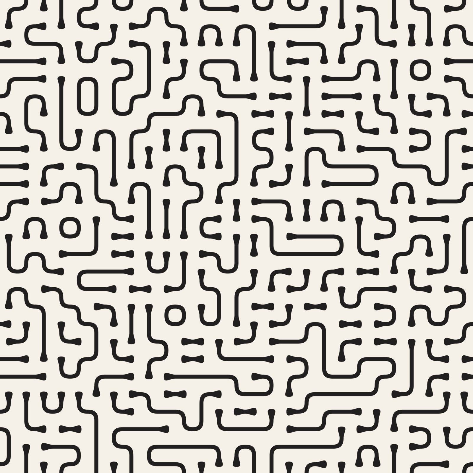 Irregular Rounded Lines. Abstract Geometric Background Design. Vector Seamless Black and White Pattern.