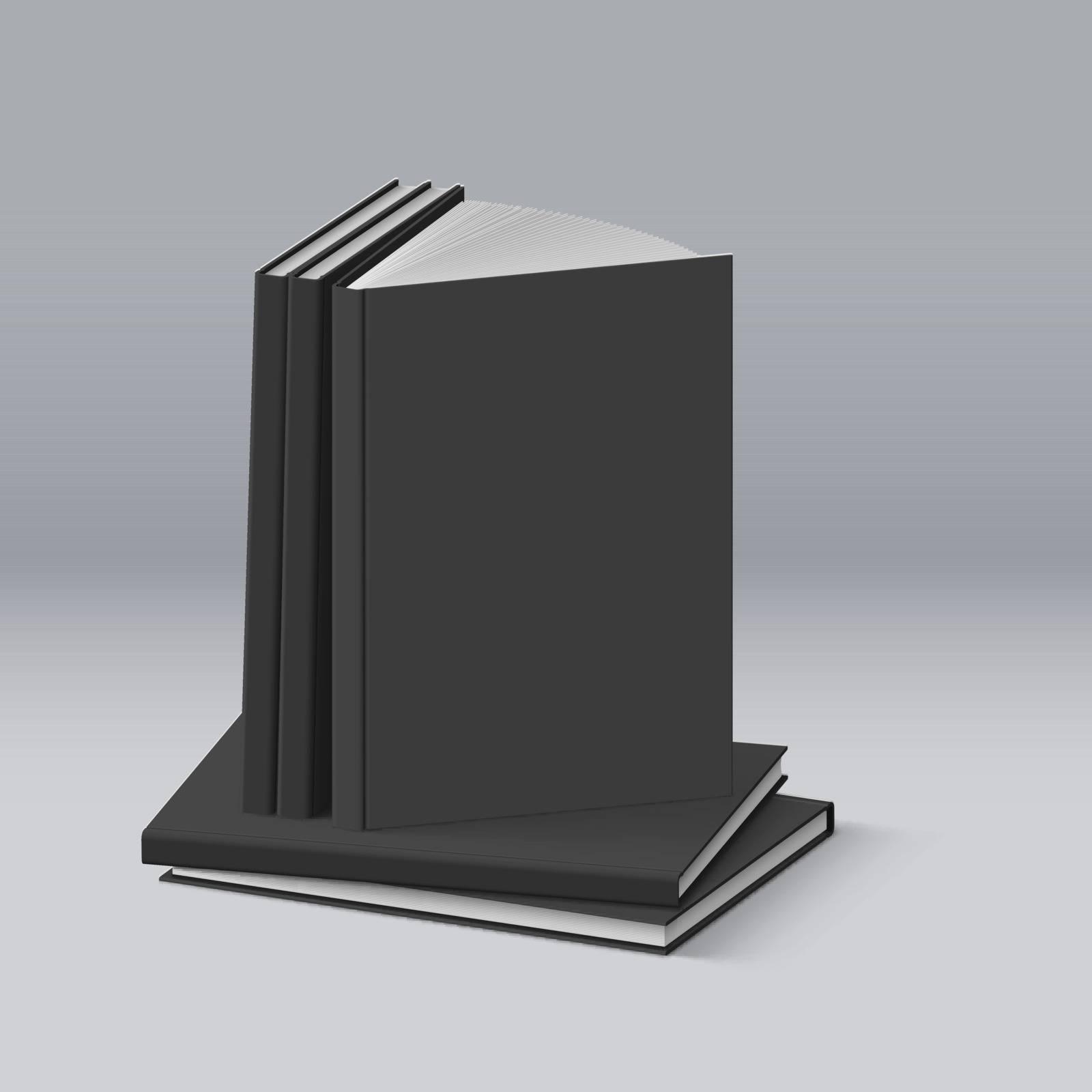Stack of Blank Black Books. Illustration for Design