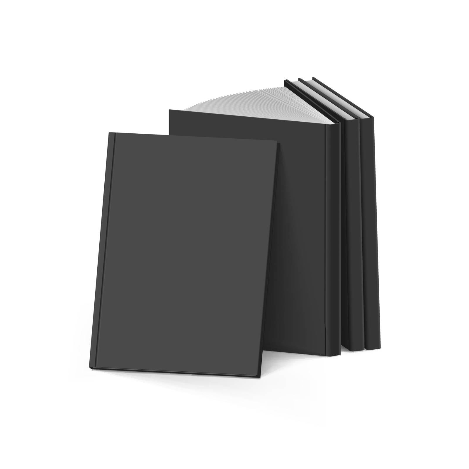 Stack of Blank Black Books on White Background. Mockup Template