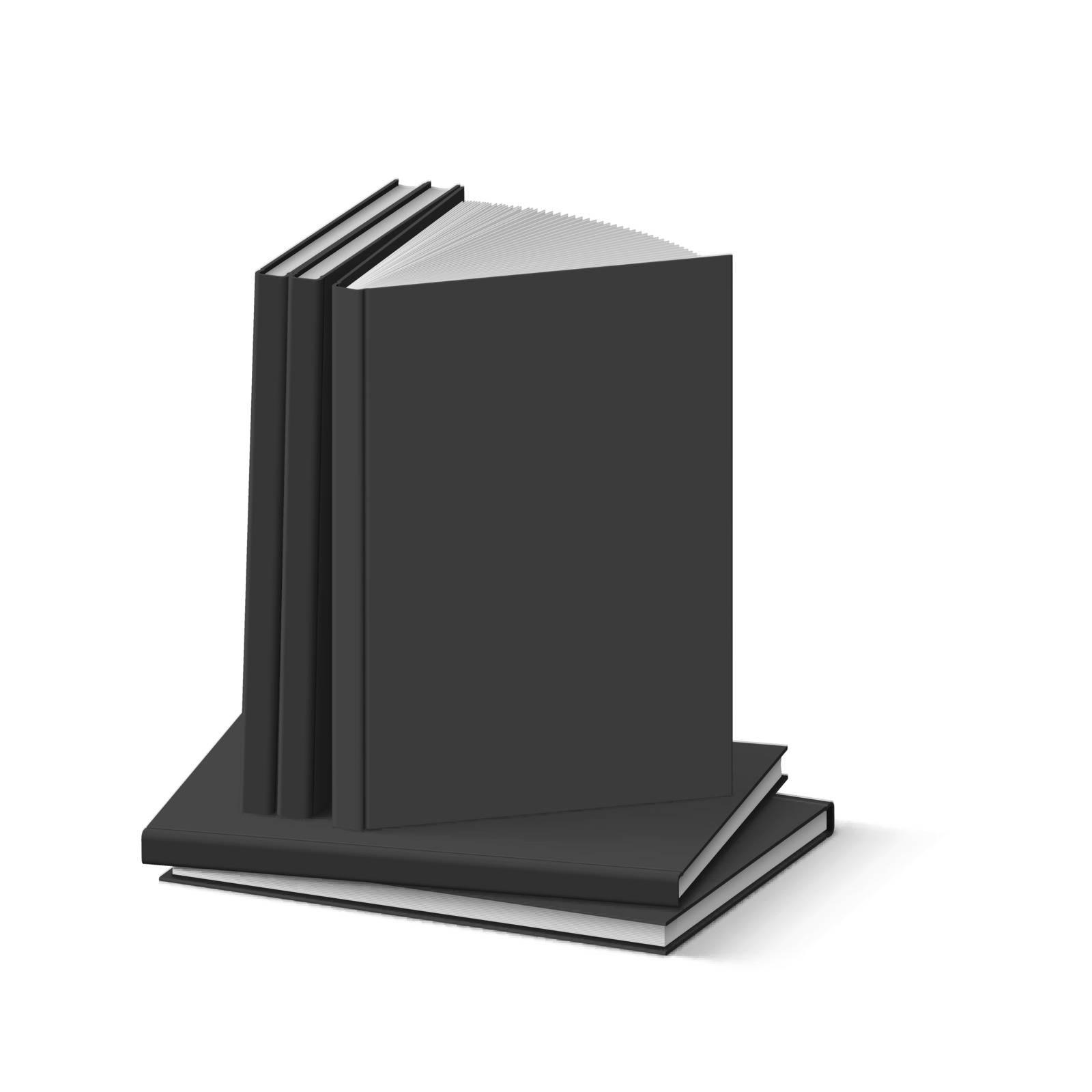 Stack of Blank Black Books on White Background