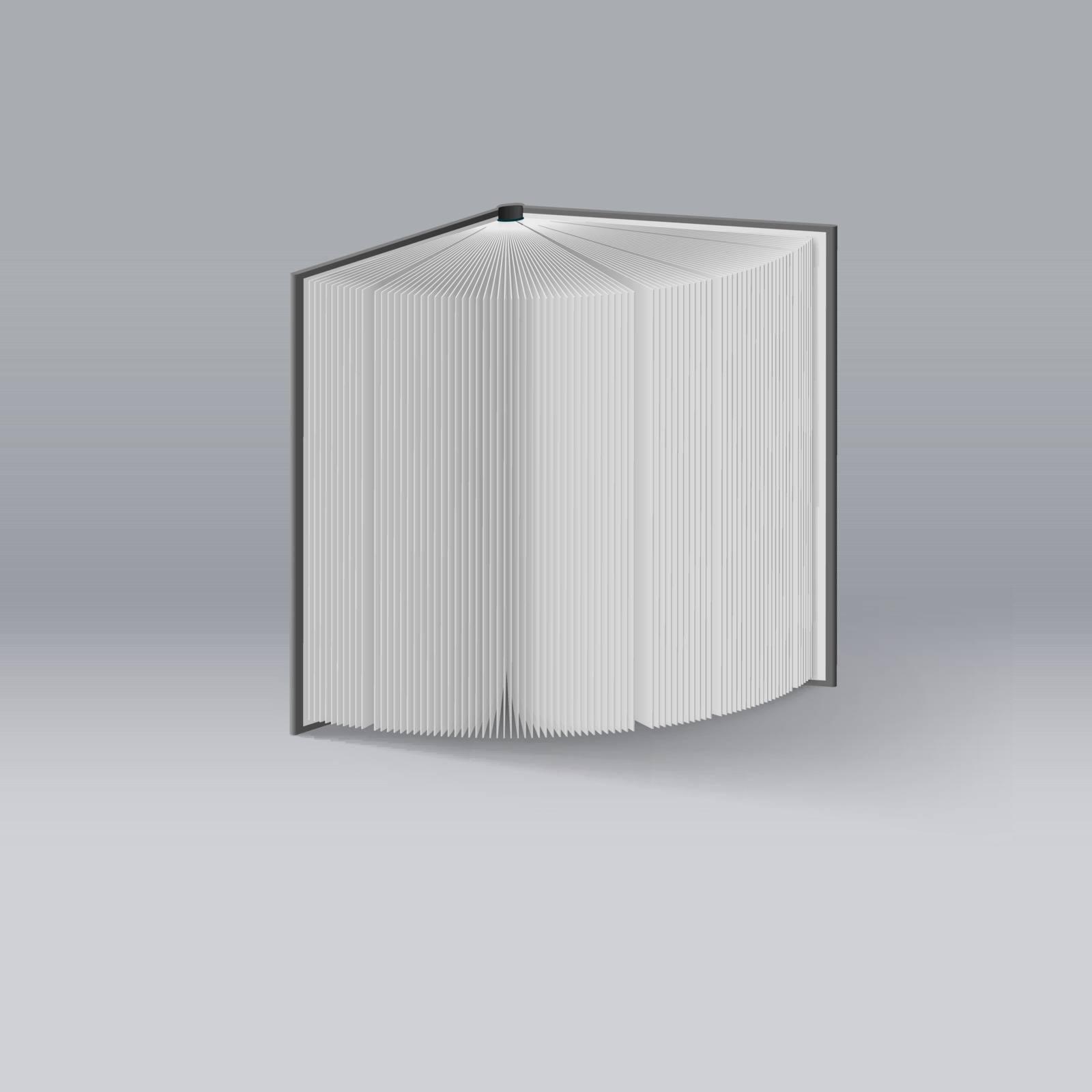 Open Book. Illustration on Deep Background. Mockup Template