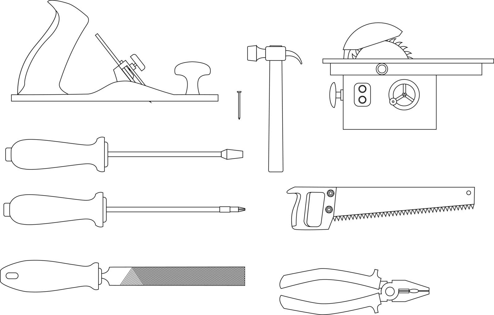 set of tools for working with wood: Planer, screwdrivers, hacksaw, pliers, circular saw, a hammer, a file. Sketches of of vector icons.