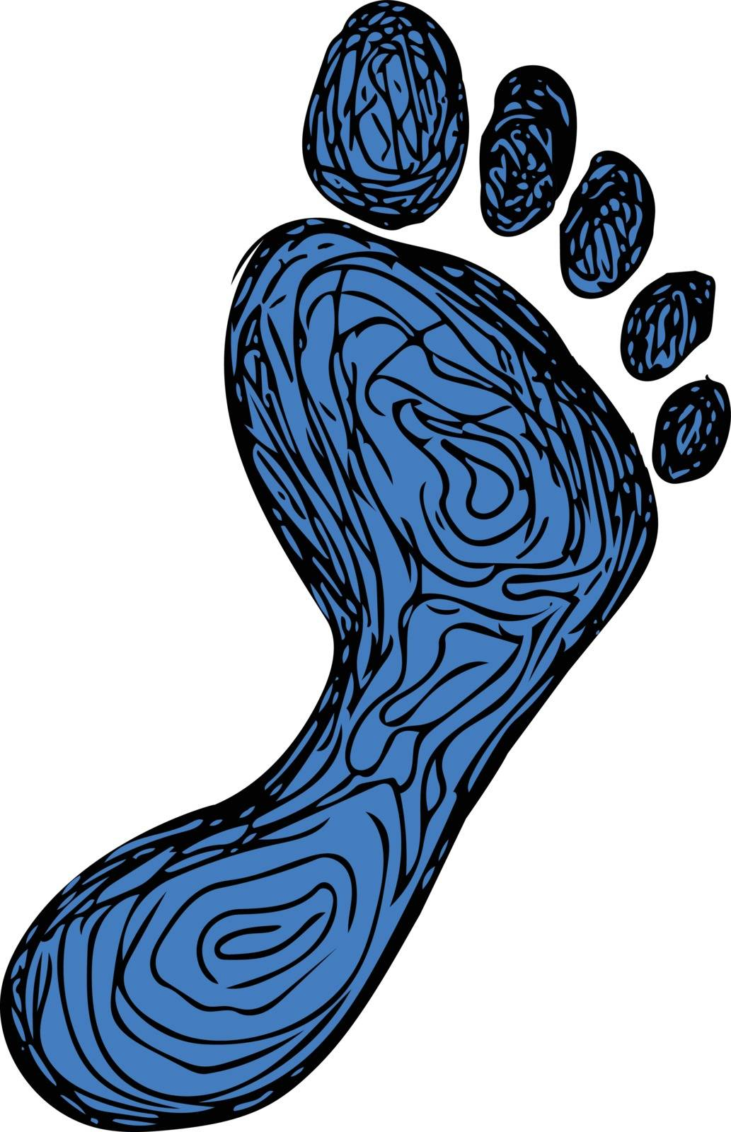Drawing sketch style illustration of a footprint set on isolated white background.
