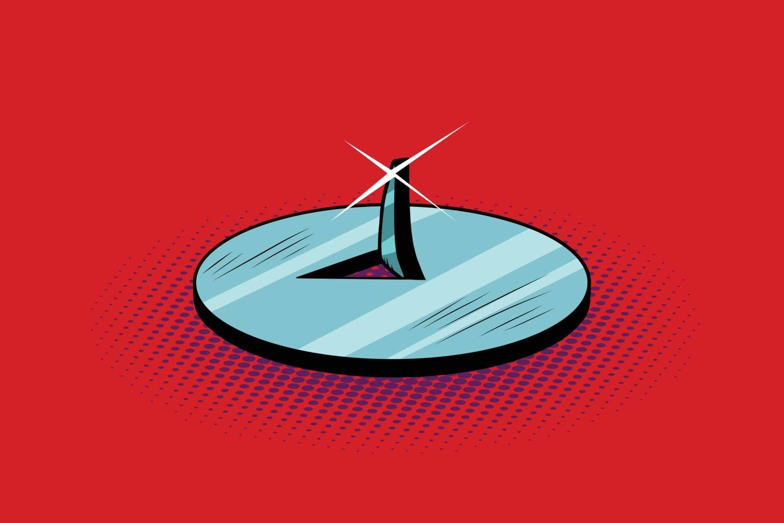 Pushpin sharp metal spike button, pop art retro vector illustration. Office supplies