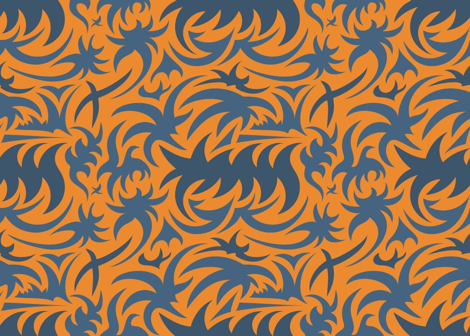 5 color abstract seamless thorny organic pattern. grey, orange and red and tones. vector illustration