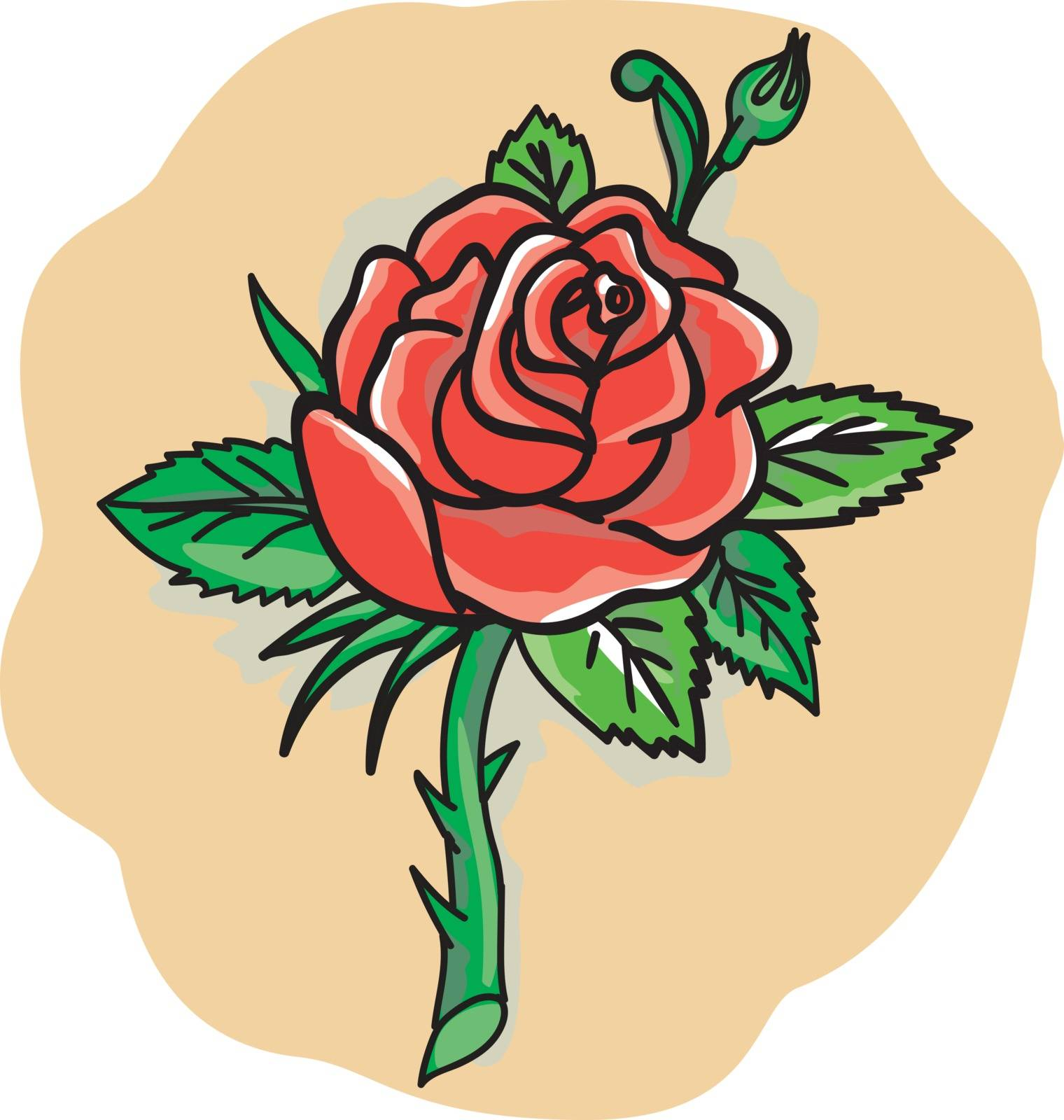 Tattoo style illustration of a red rose bud with leaves on a stem with thorns set on isolated white background.