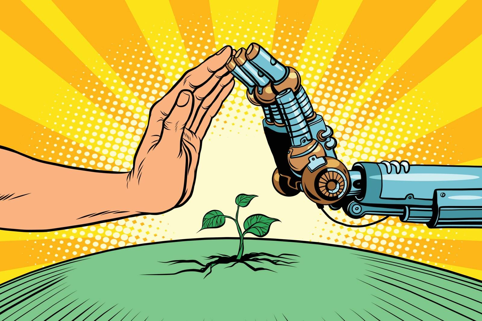 Humans and robots protect nature. Ecology green sprout. Pop art retro vector vintage illustration. Earth day and eco policy