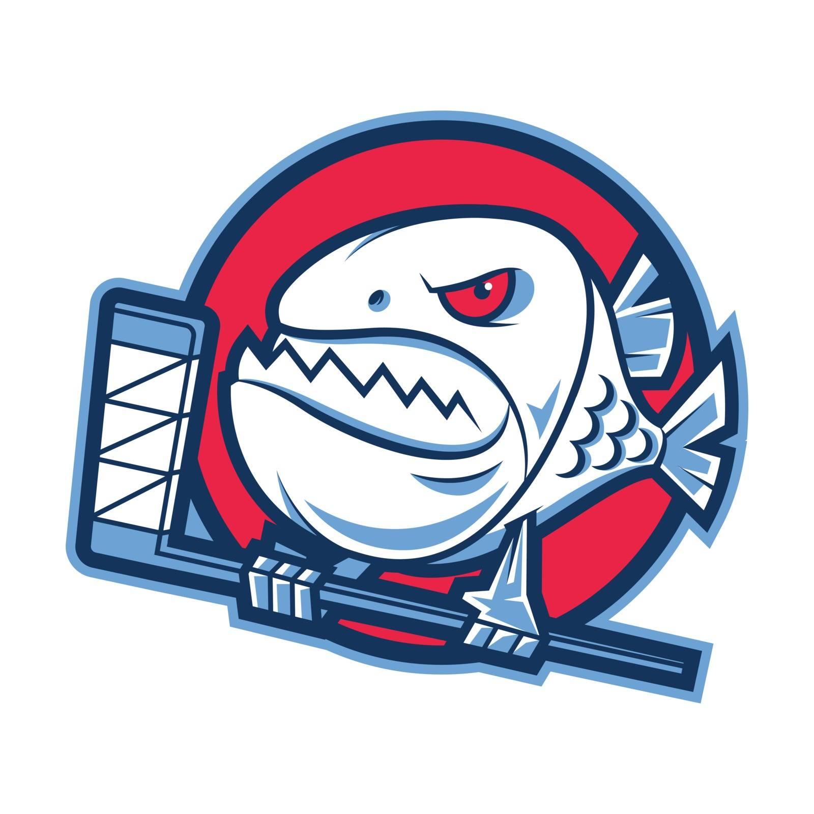 Illustration emblem aggressive piranha holds hockey stick, format EPS 10