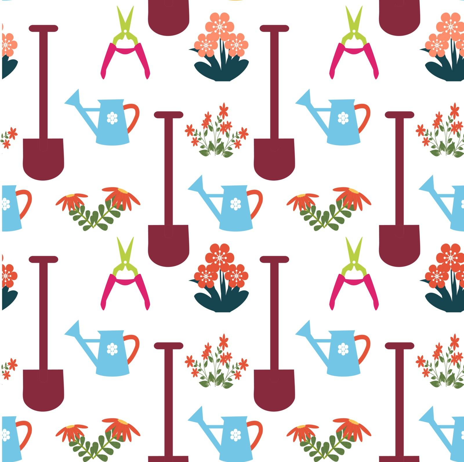Gardening Repeat seamless Pattern with Gardening Equipment - Illustration