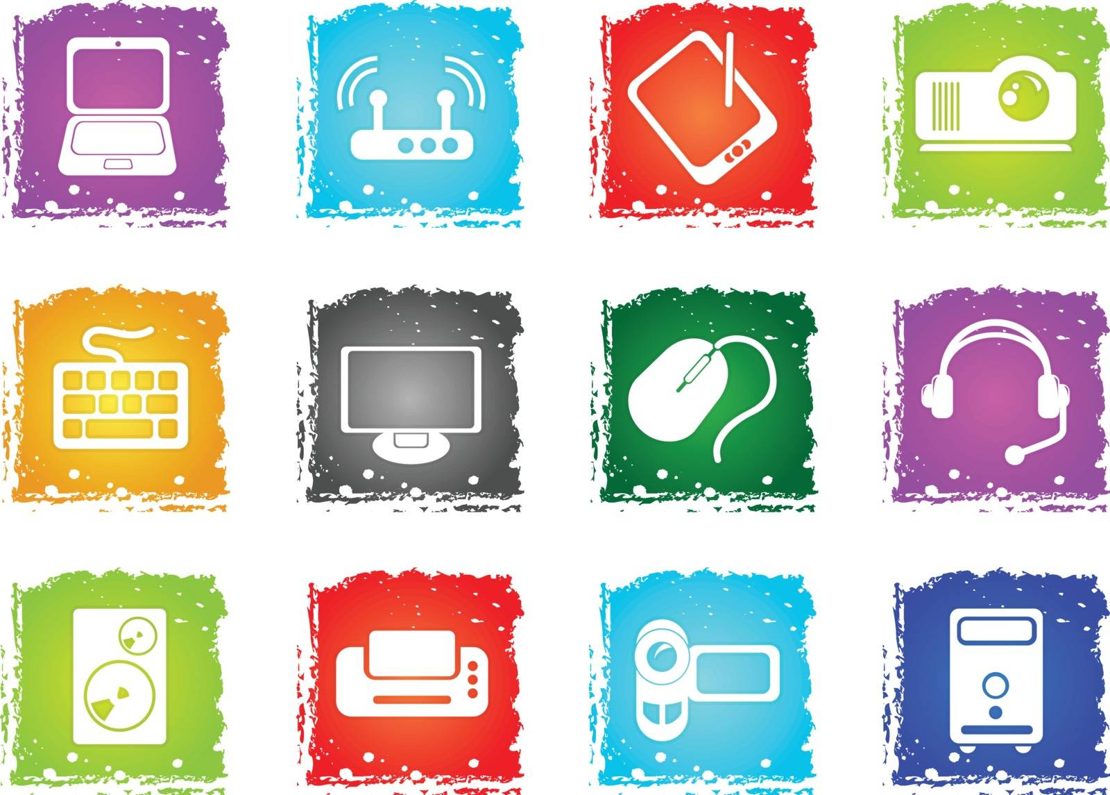 Computer equipment simple vector icons in grunge style for user interface design